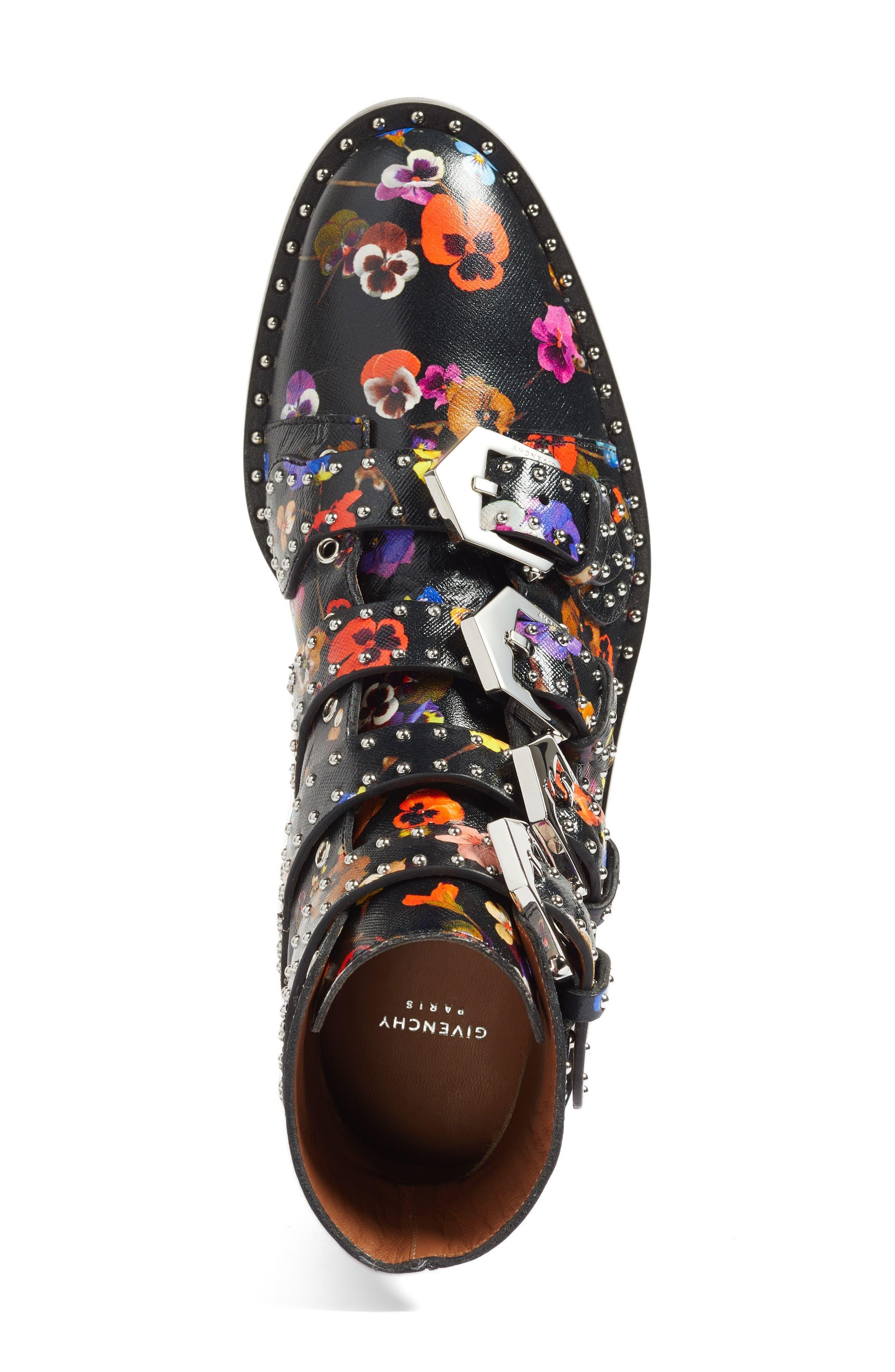 Prue Ankle Boot,                             Alternate thumbnail 7, color,                             Black Floral
