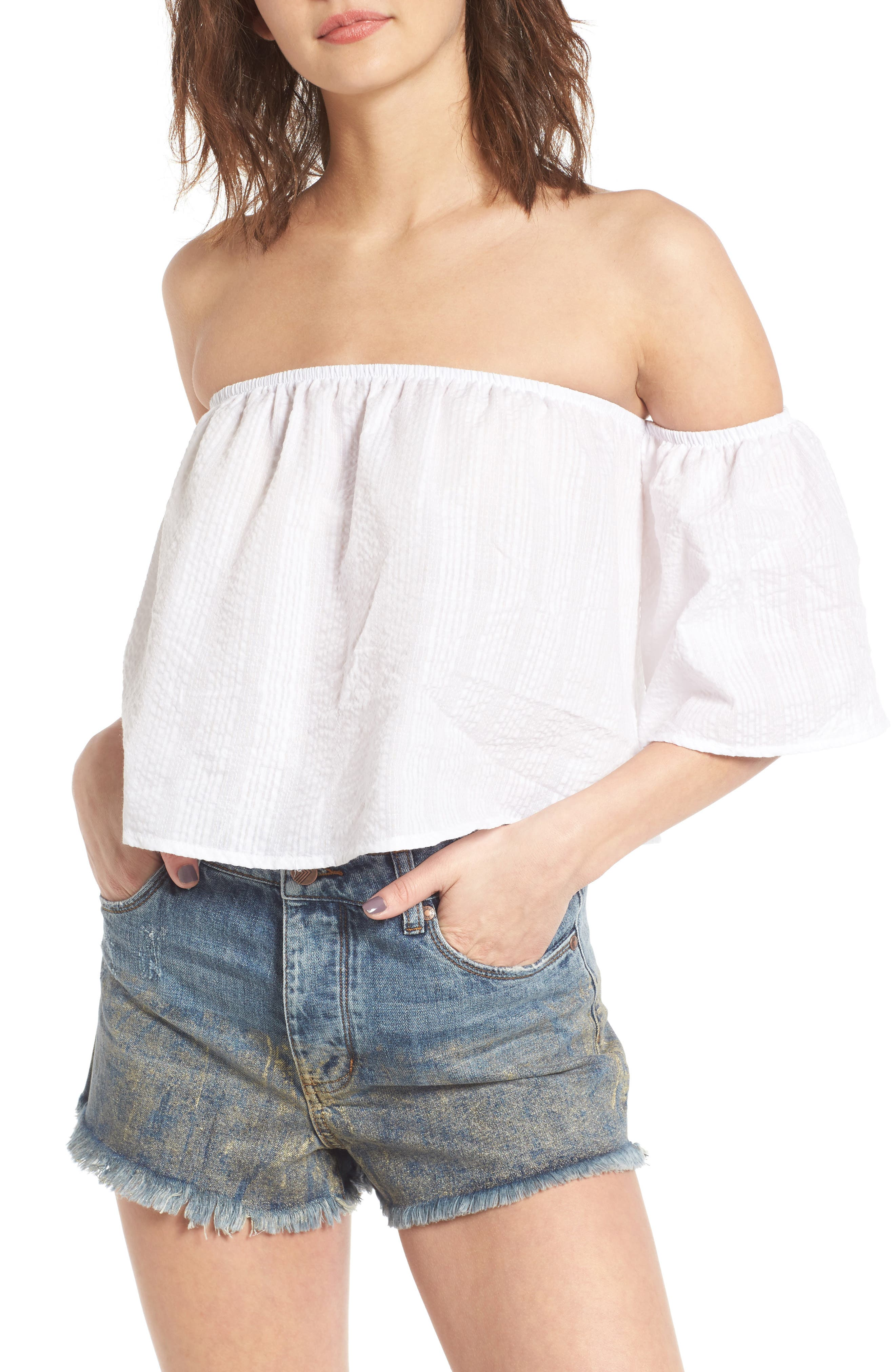 Off the Shoulder Crop Top,                             Main thumbnail 1, color,                             White