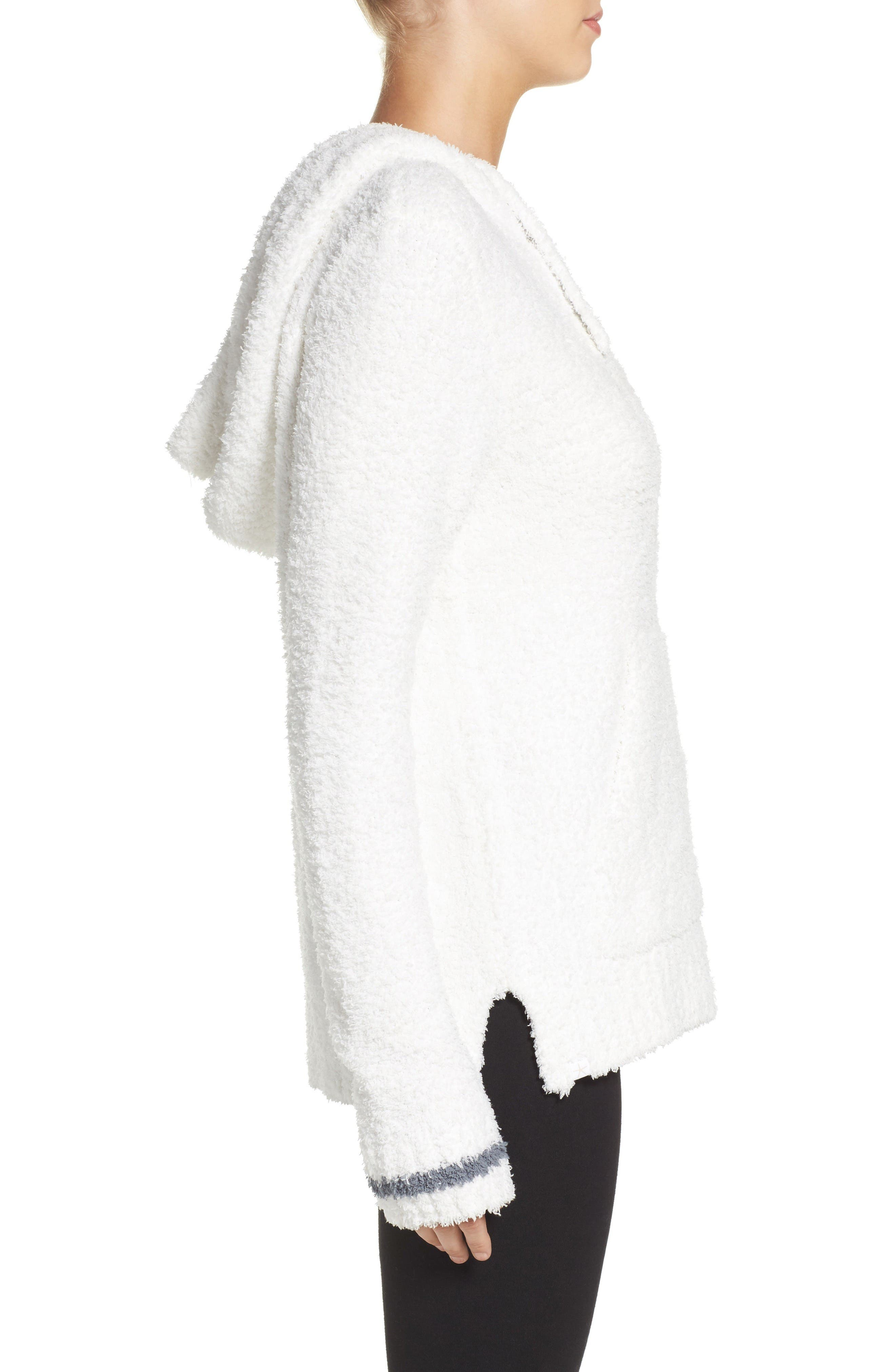 Barefoot Dreams Cozychic<sup>®</sup> Baha Lounge Hoodie,                             Alternate thumbnail 3, color,                             White/ Graphite Stripe