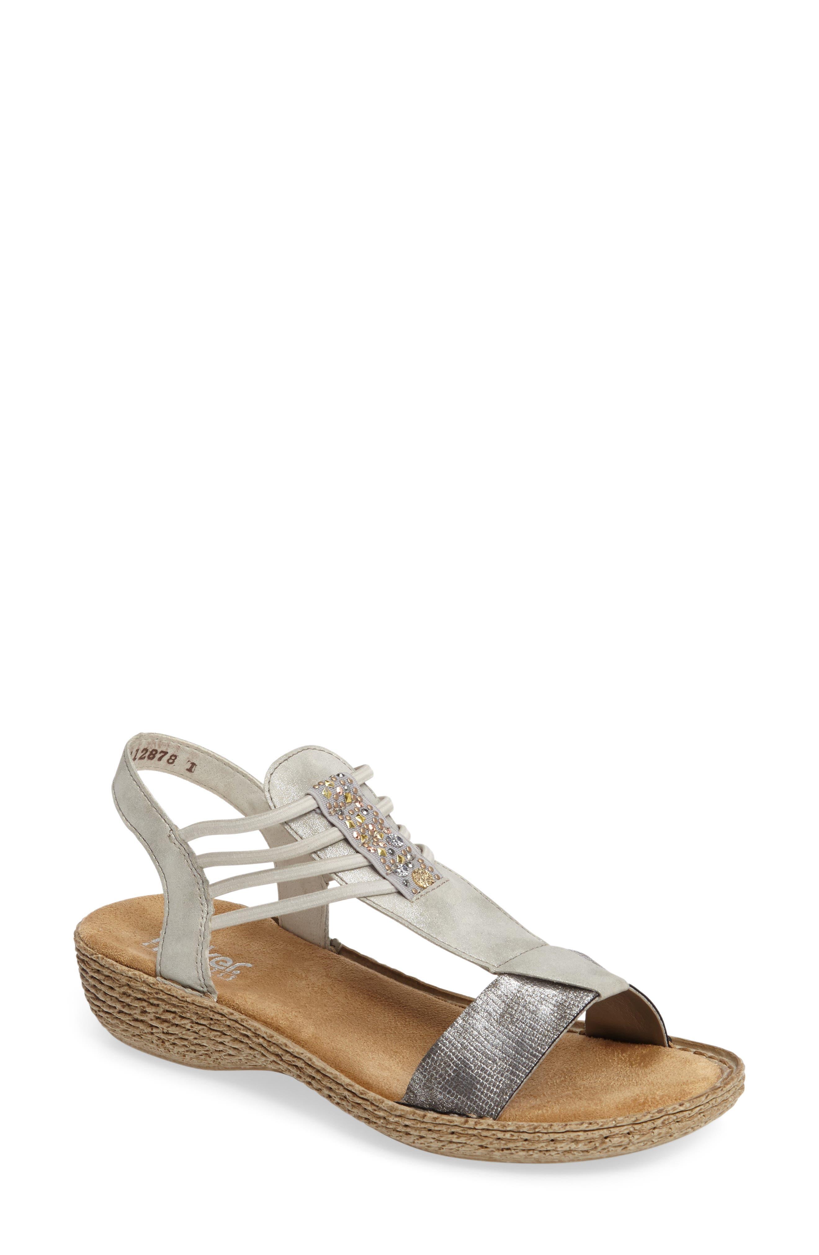 Regina T-Strap Sandal,                             Main thumbnail 1, color,                             Grey Fabric
