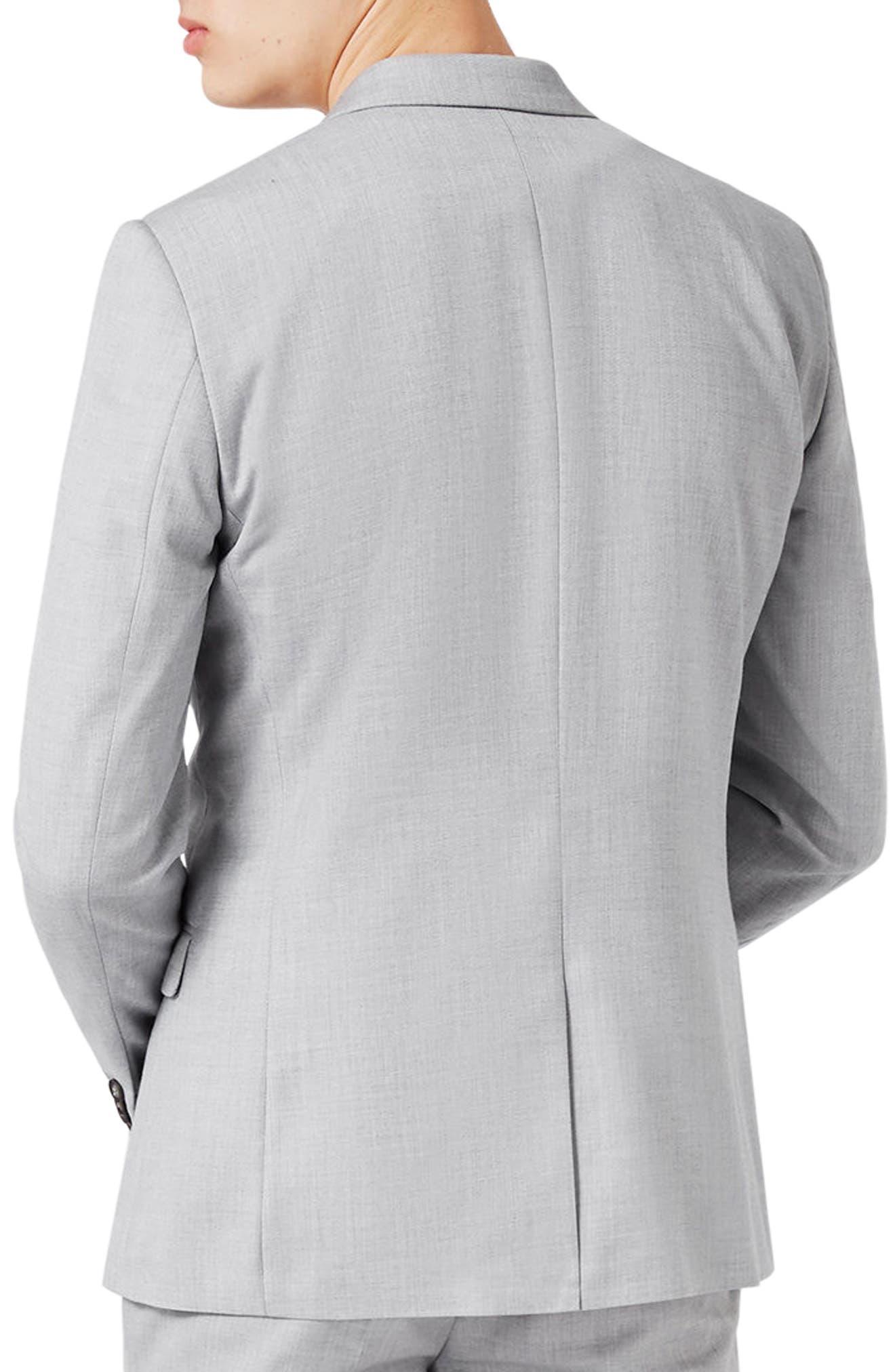 Skinny Fit Crosshatch Suit Jacket,                             Alternate thumbnail 3, color,                             Grey