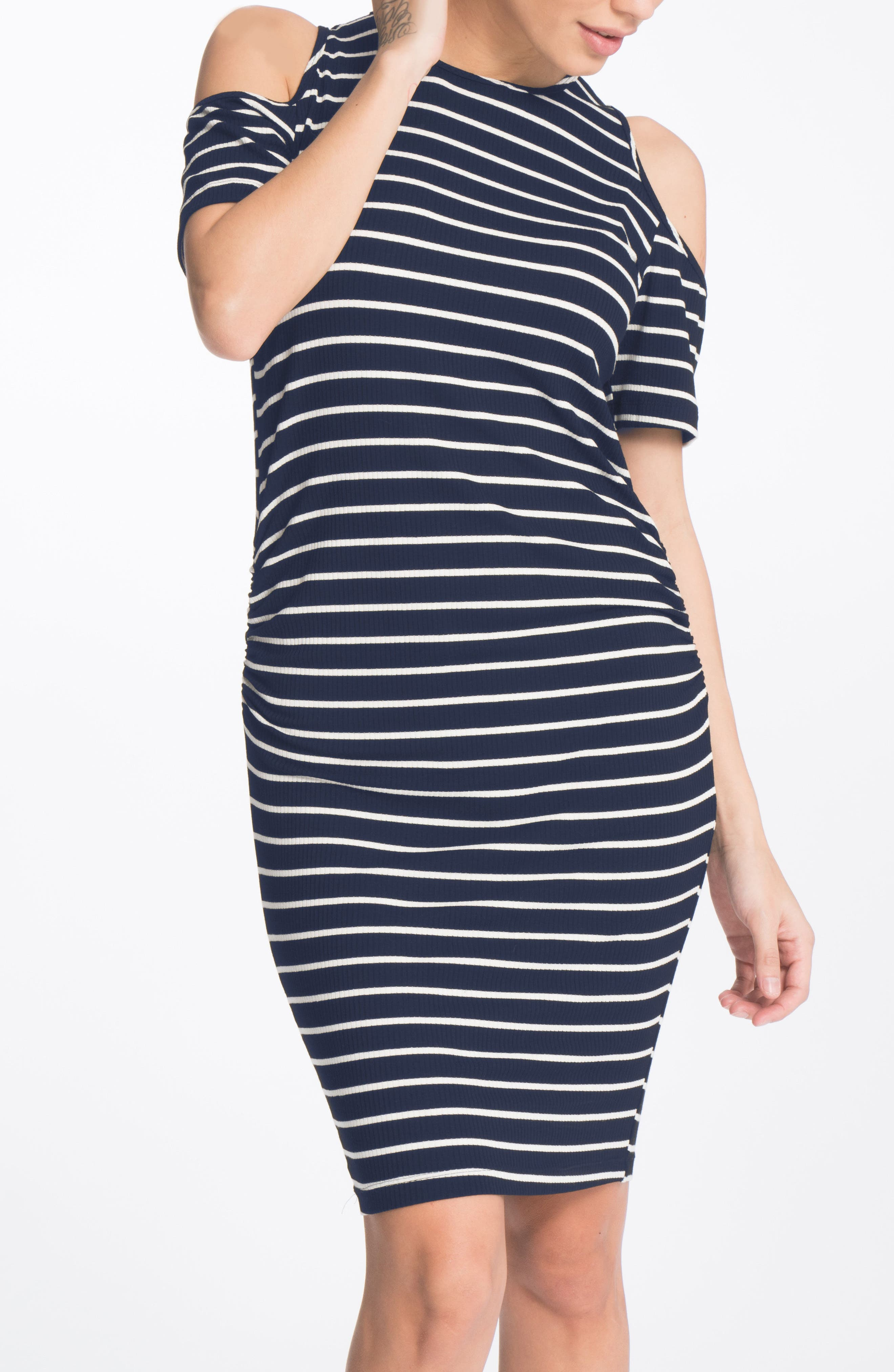Alternate Image 3  - Bun Maternity Cold-Shoulder Maternity Dress