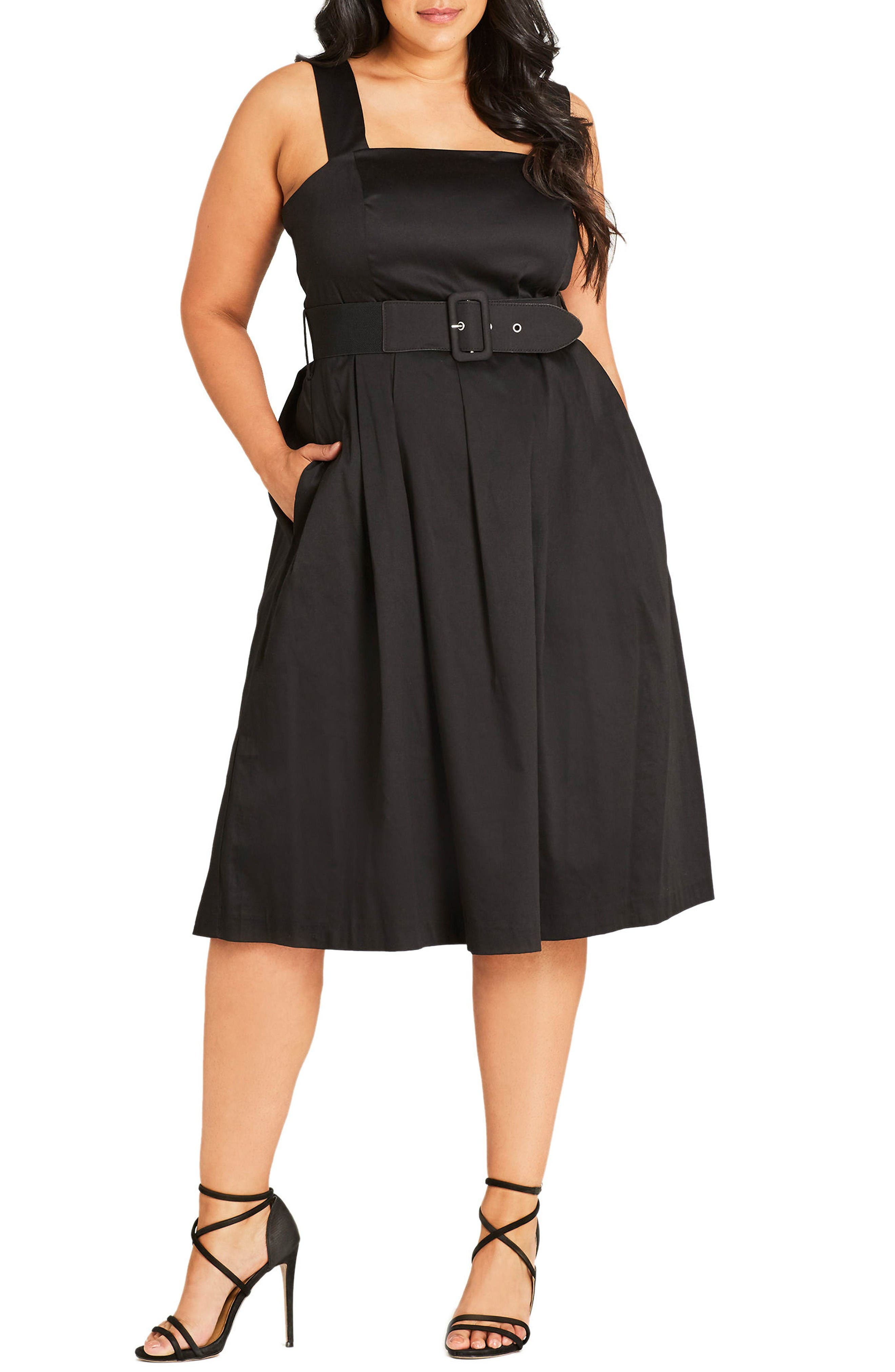 Stretch Cotton Midi Dress,                             Main thumbnail 1, color,                             Black