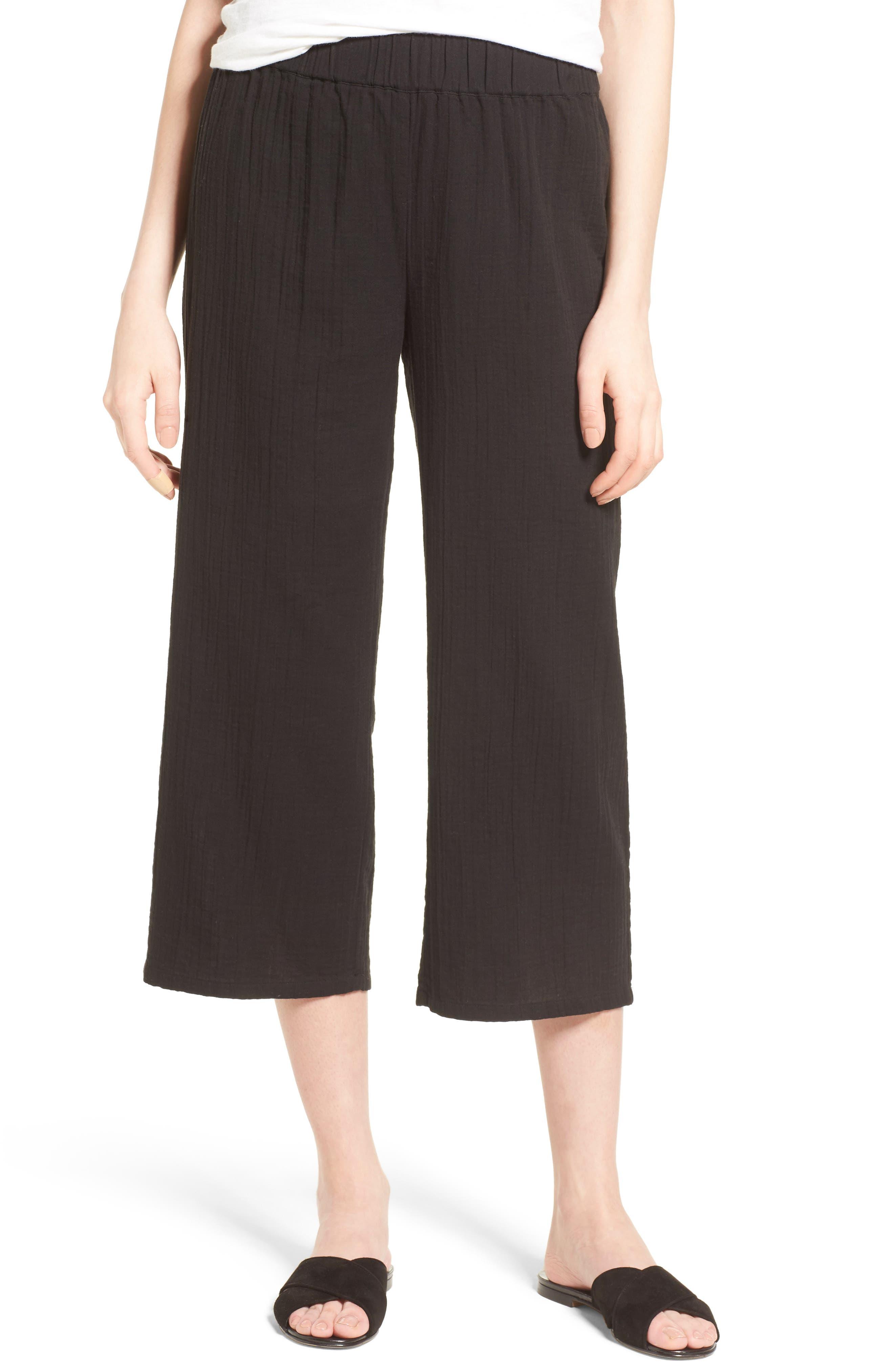 Organic Cotton Crop Pants,                         Main,                         color, Black
