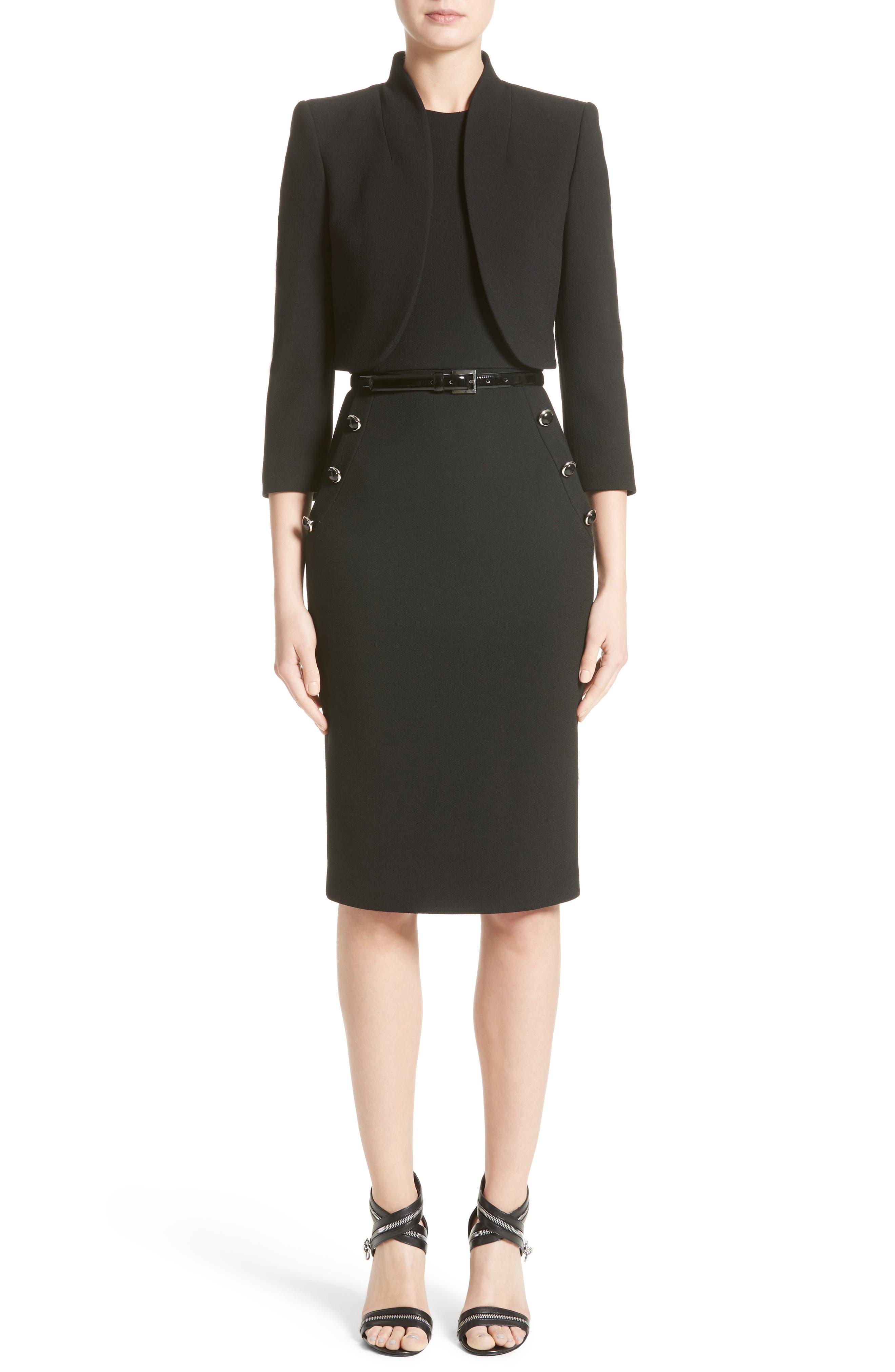 Belted Stretch Bouclé Crepe Sheath Dress,                             Alternate thumbnail 8, color,                             Black