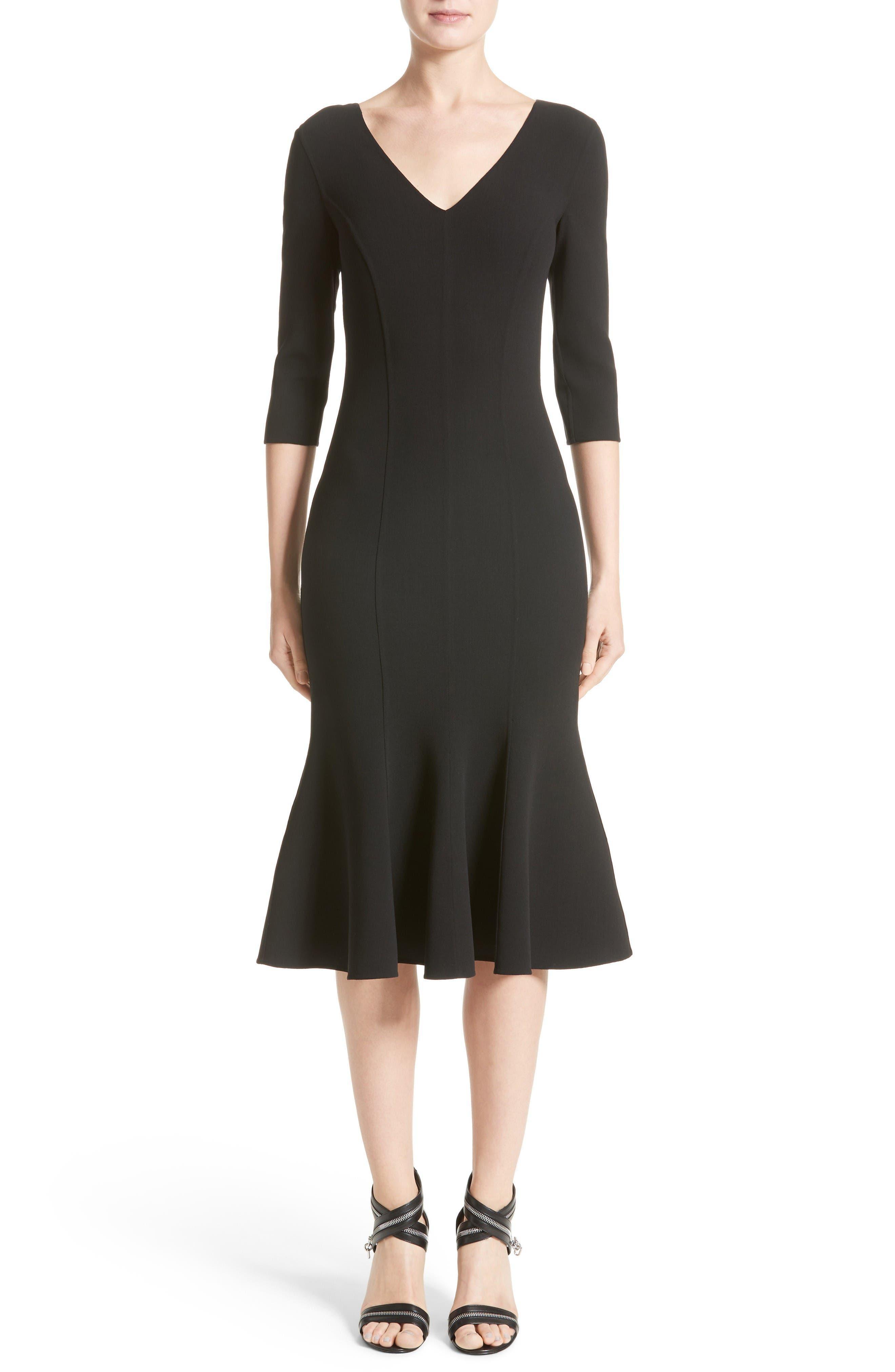 Stretch Wool Crepe Flounce Dress,                         Main,                         color, Black
