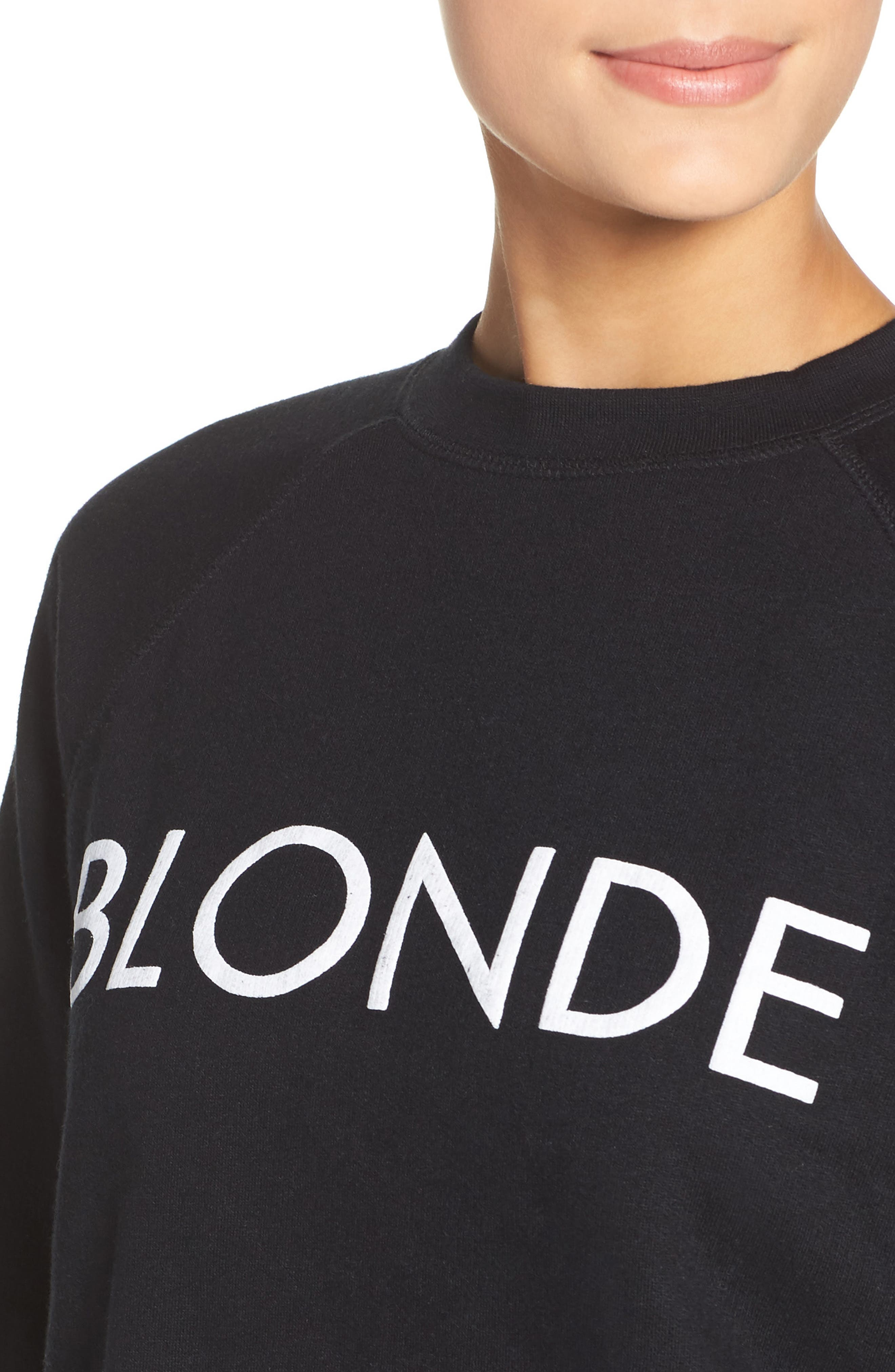Alternate Image 4  - BRUNETTE the Label Blonde Crewneck Sweatshirt
