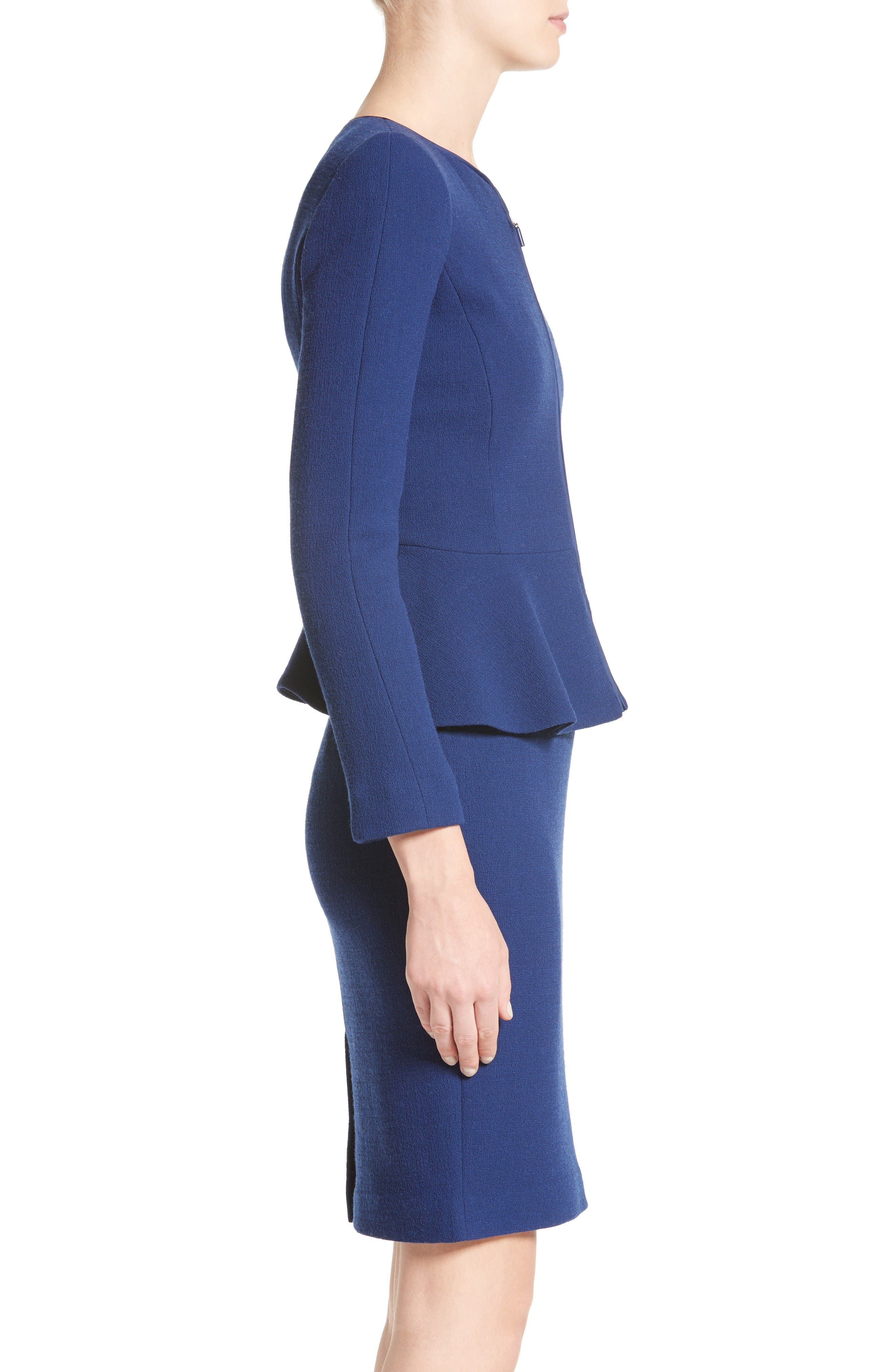 Double Crepe Peplum Jacket,                             Alternate thumbnail 5, color,                             Royal Blue