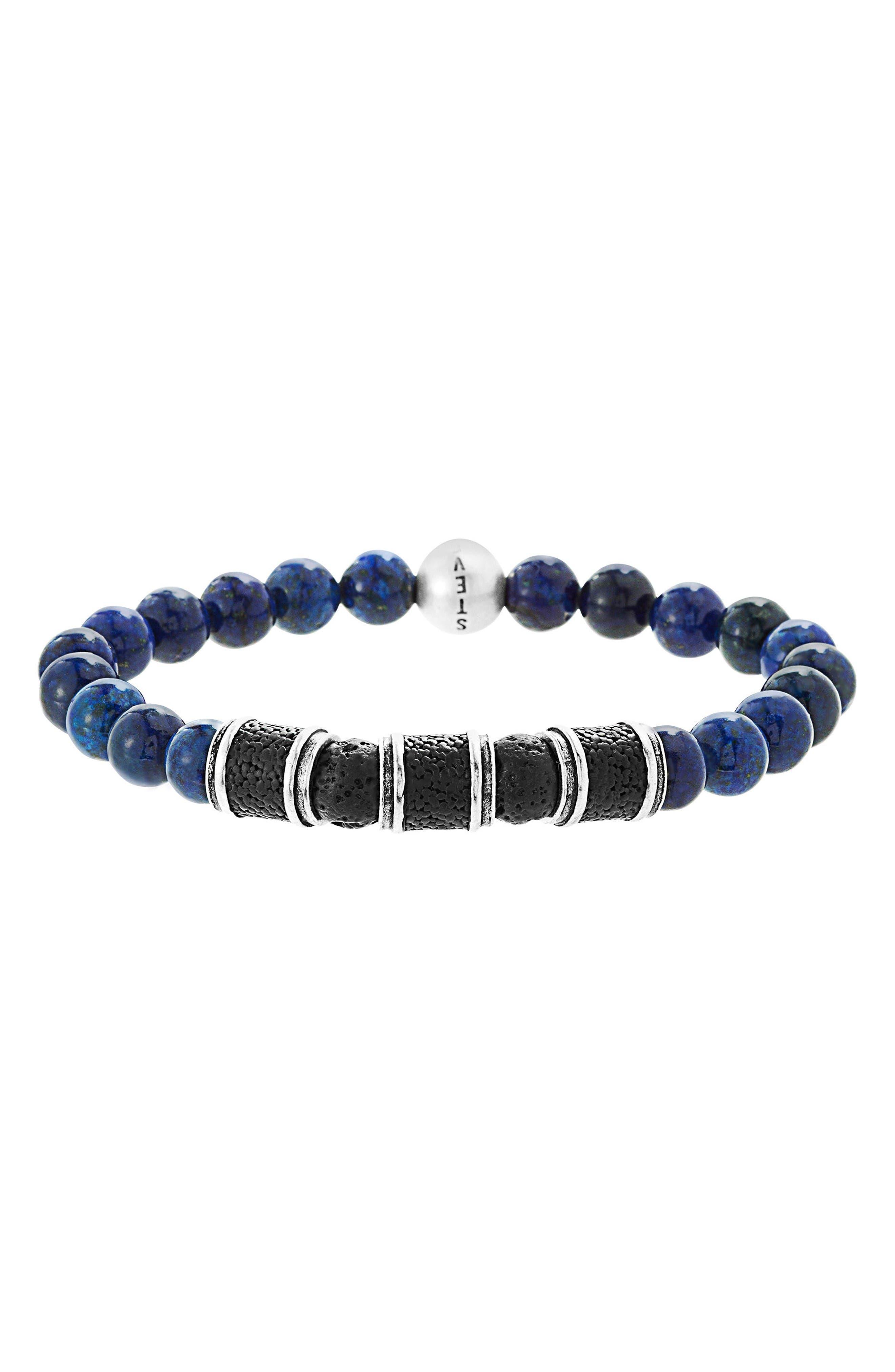 Lapis Lazuli Bead Bracelet,                             Main thumbnail 1, color,                             Lapis