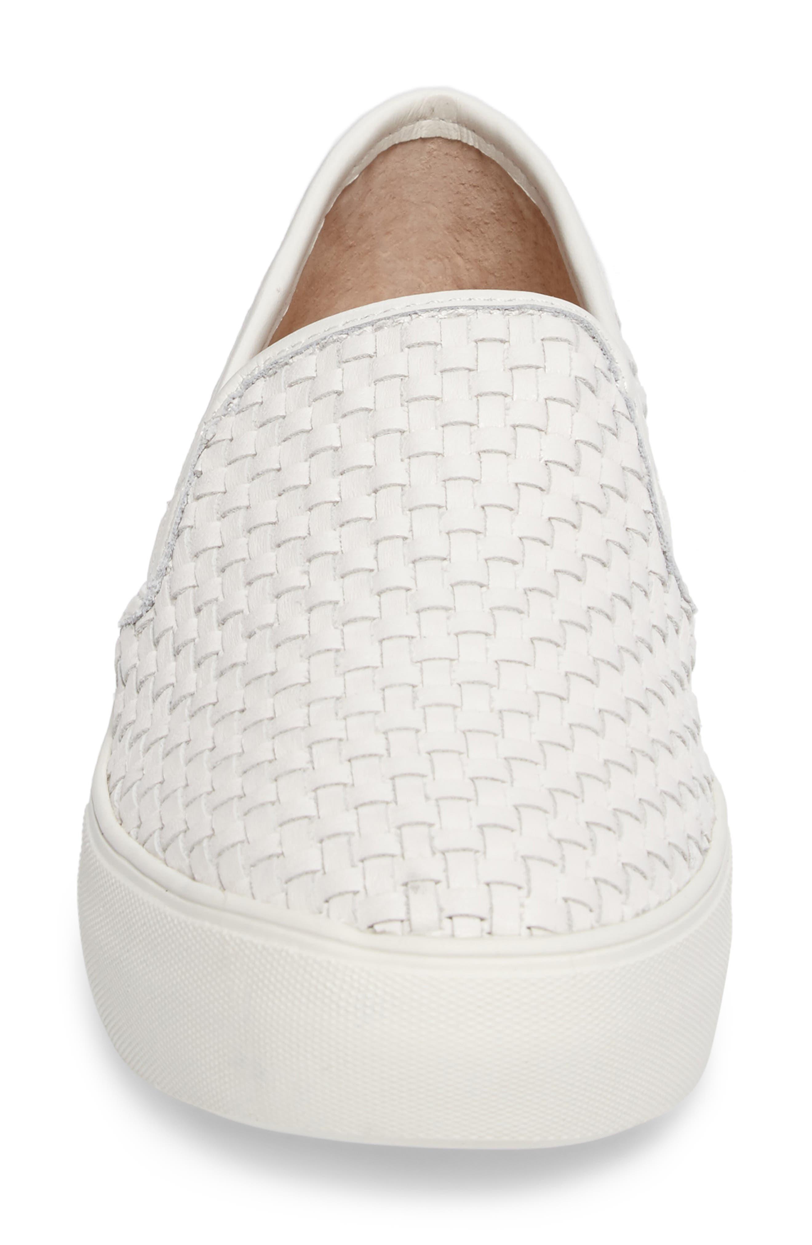 Alyssa Platform Slip-On Sneaker,                             Alternate thumbnail 4, color,                             White Leather