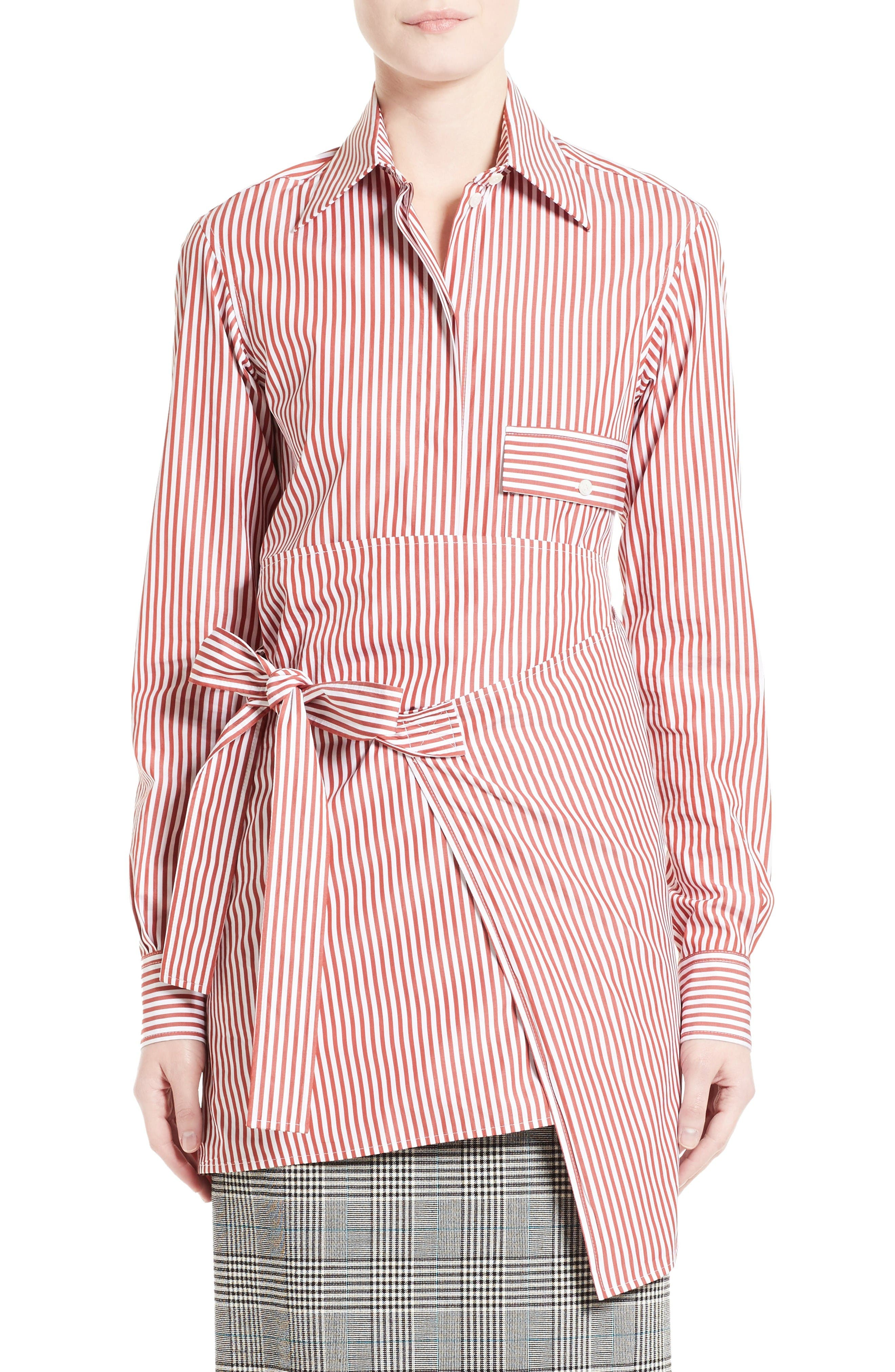 Main Image - Victoria Beckham Stripe Wrap Tie Shirt