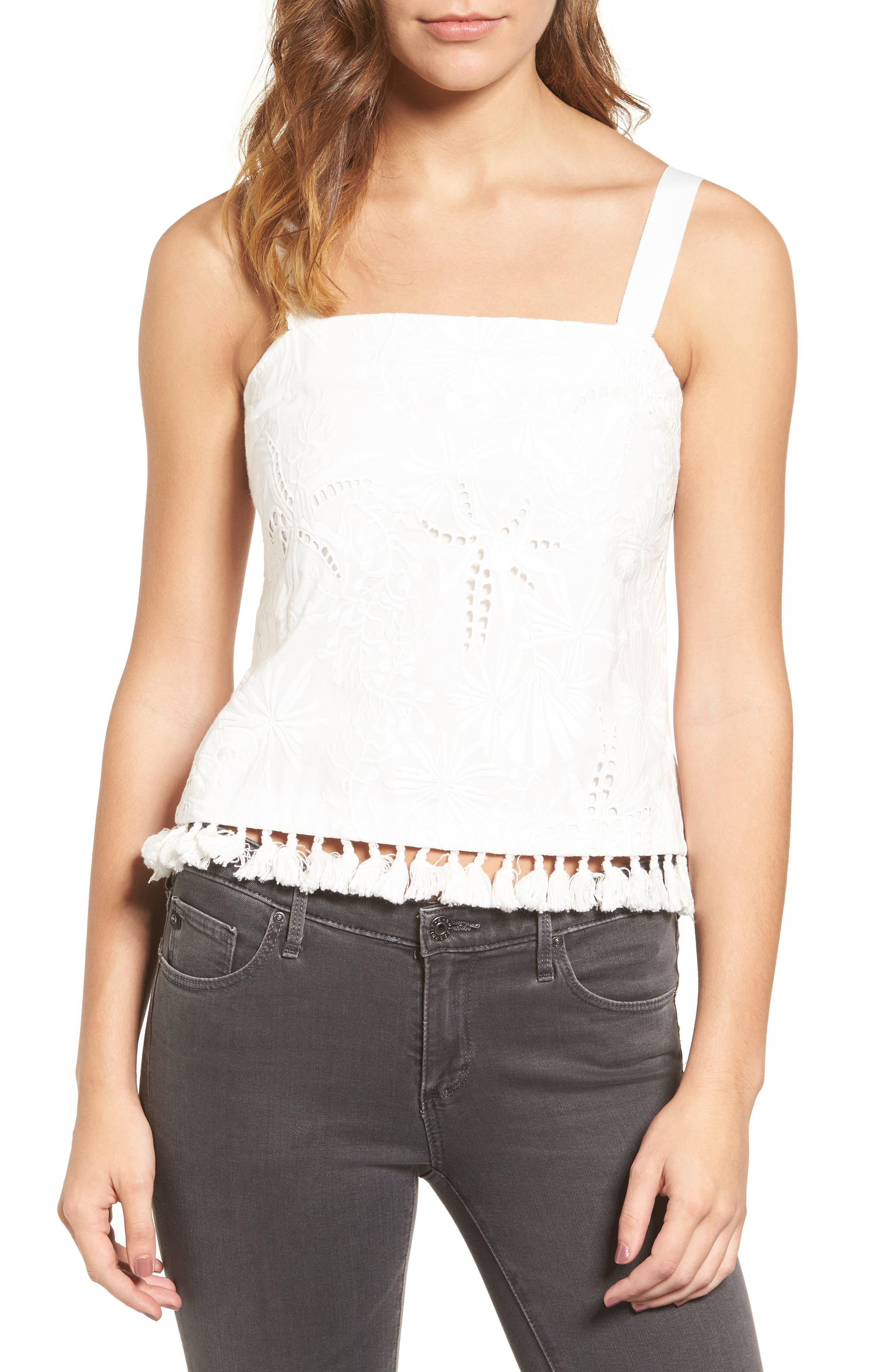 Camila Embroidered Cotton Tank,                         Main,                         color, White