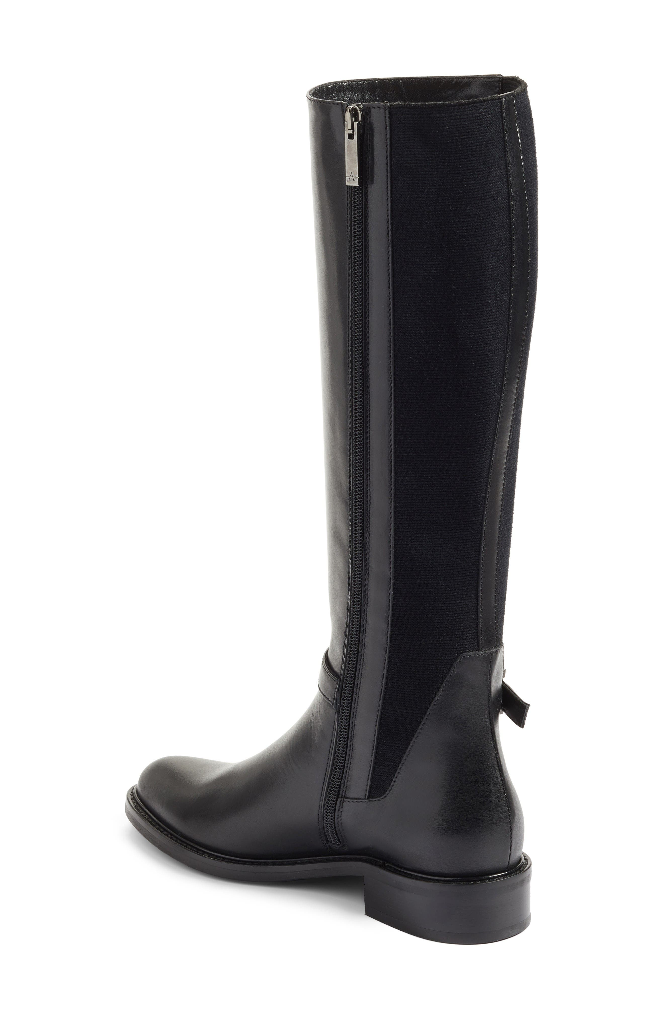 Genna Weatherproof Tall Boot,                             Alternate thumbnail 3, color,                             Black Calf/ Elastic/ Suede