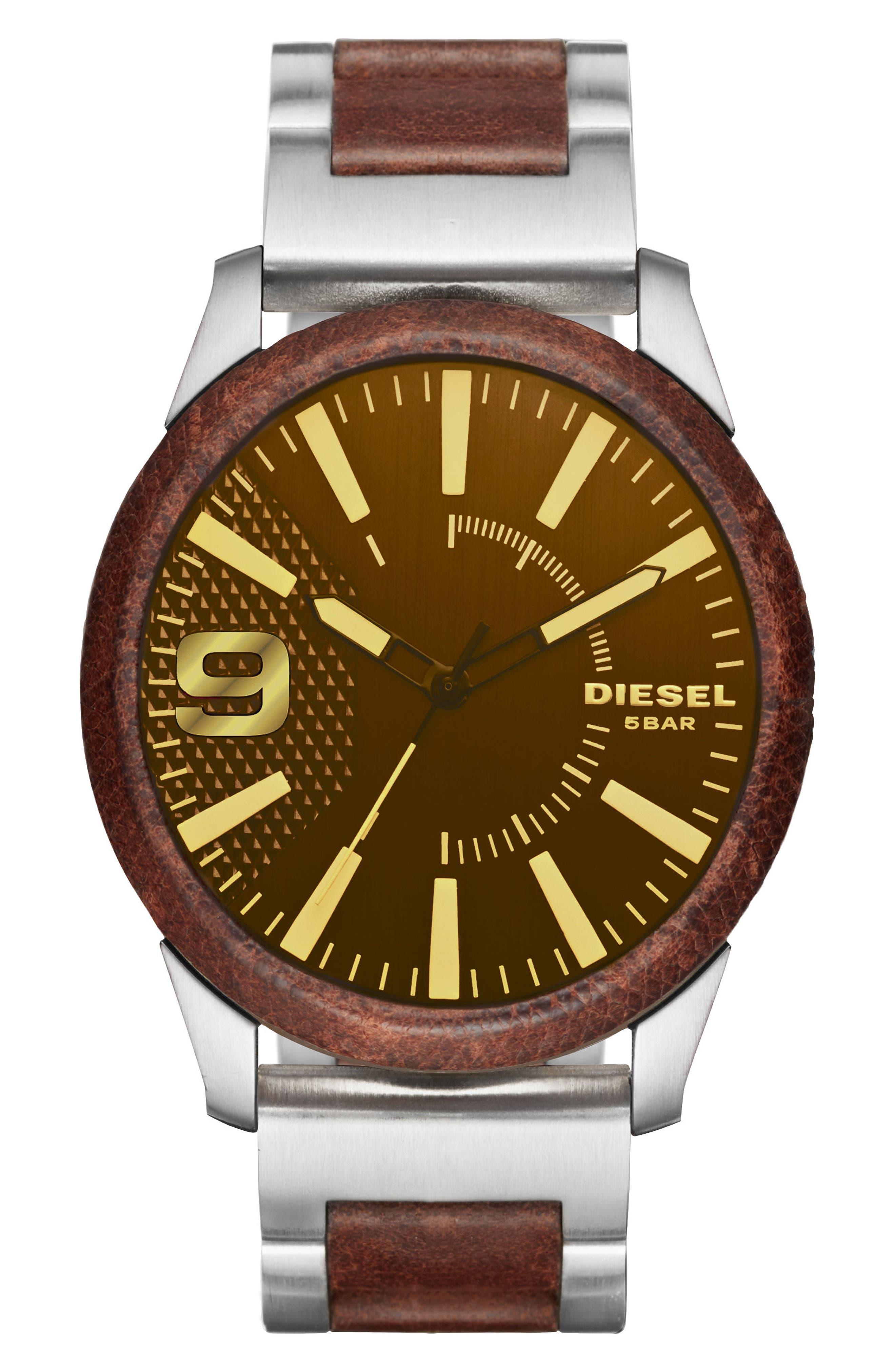 DIESEL<SUP>®</SUP> Rasp Leather Bracelet Watch, 46mm