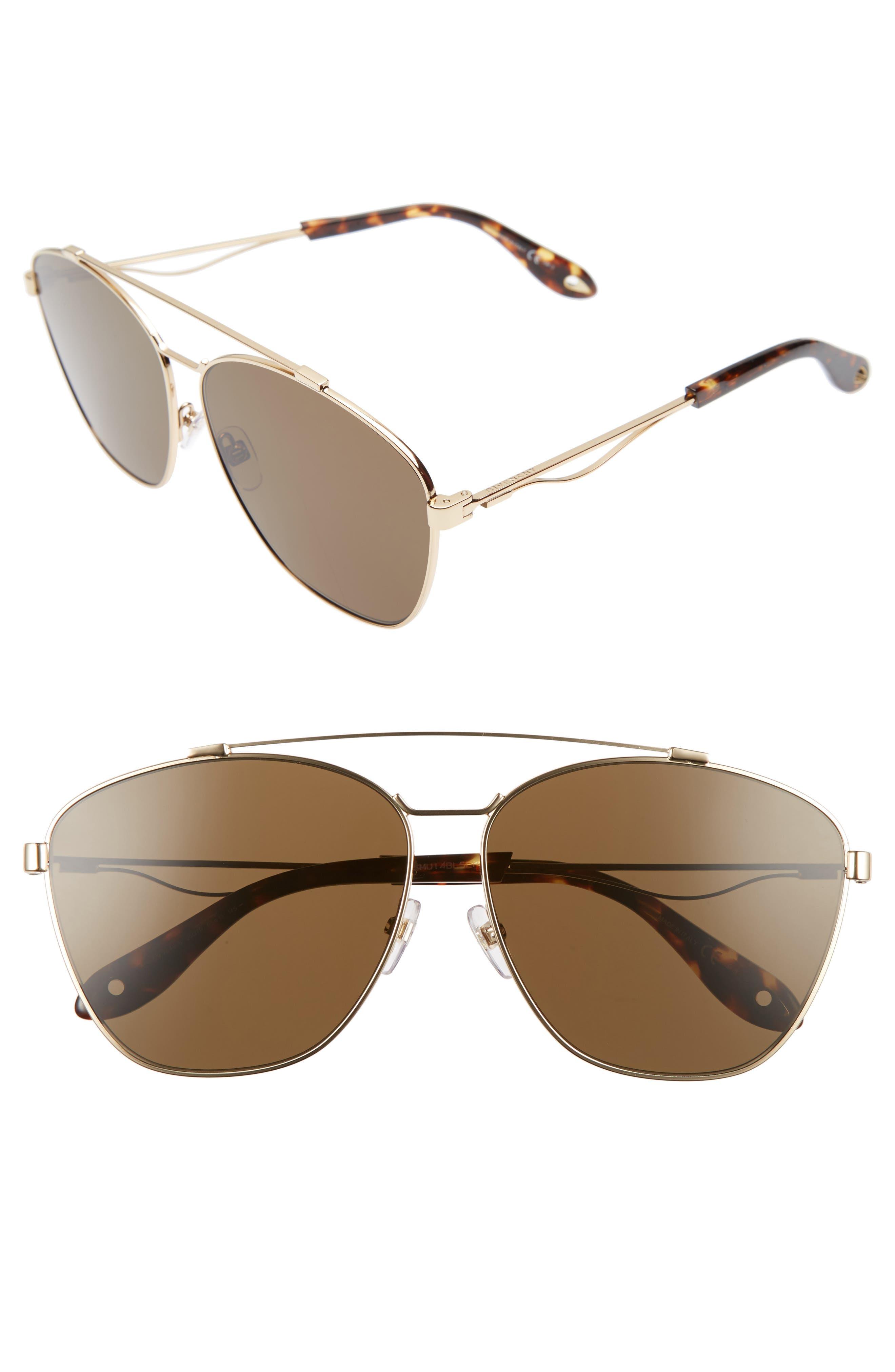 65mm Round Aviator Sunglasses,                             Main thumbnail 1, color,                             Gold