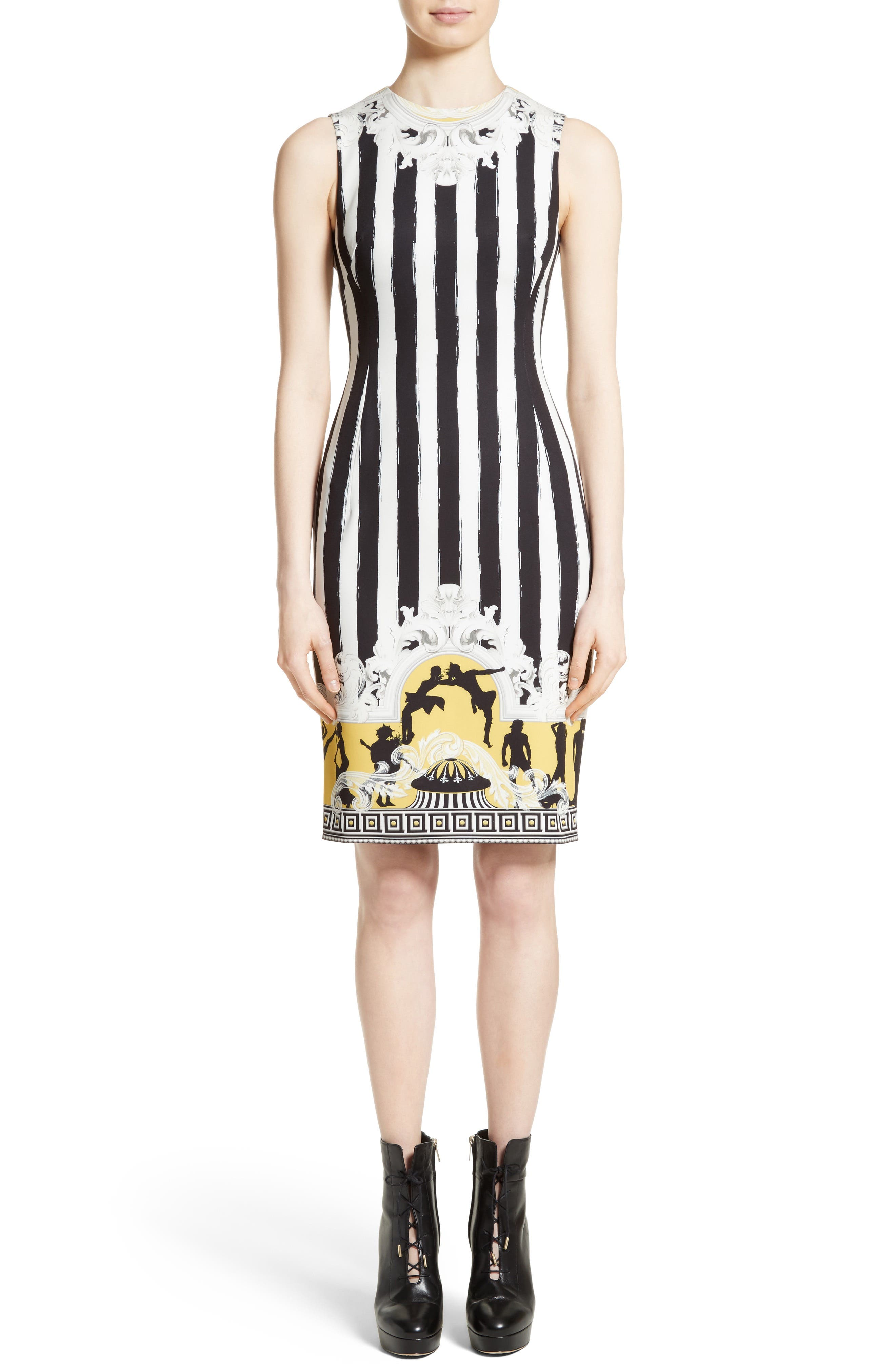 Placed Catwalk Print Silk Dress,                         Main,                         color, White/ Yellow