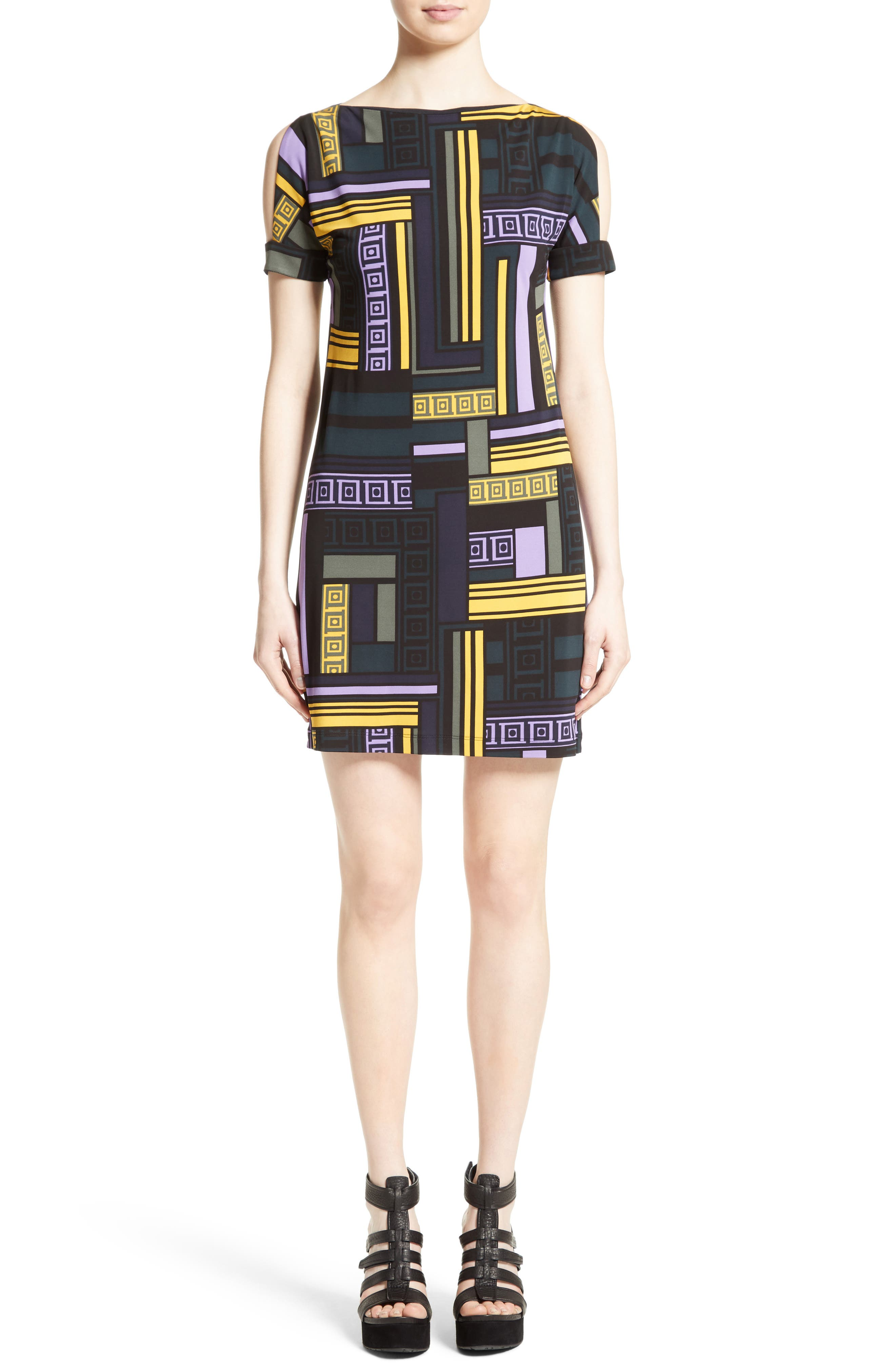 Versace Collection Cold Shoulder Print Jersey Dress