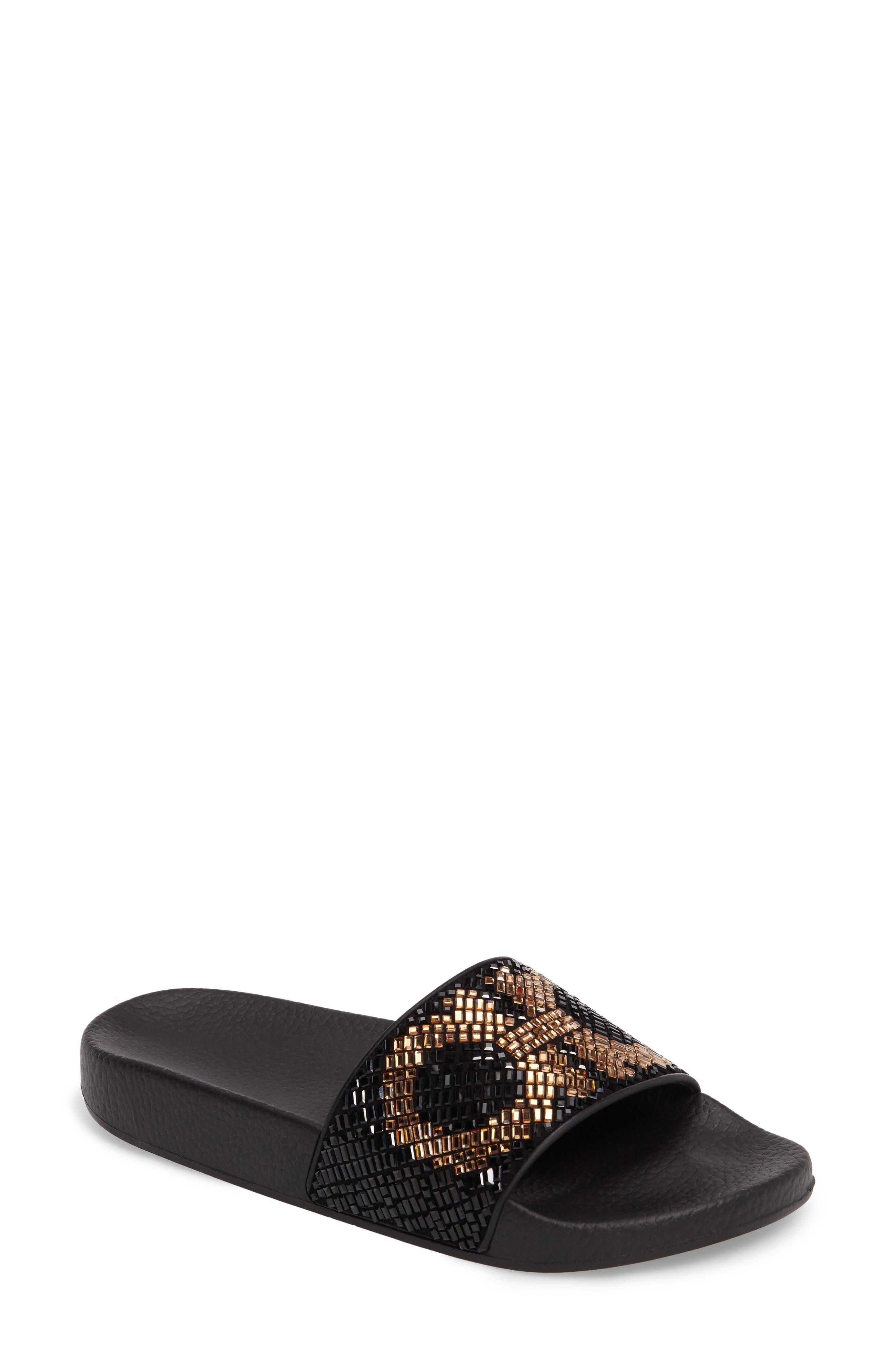 Crystal Logo Slide Sandal,                         Main,                         color, Black Multi