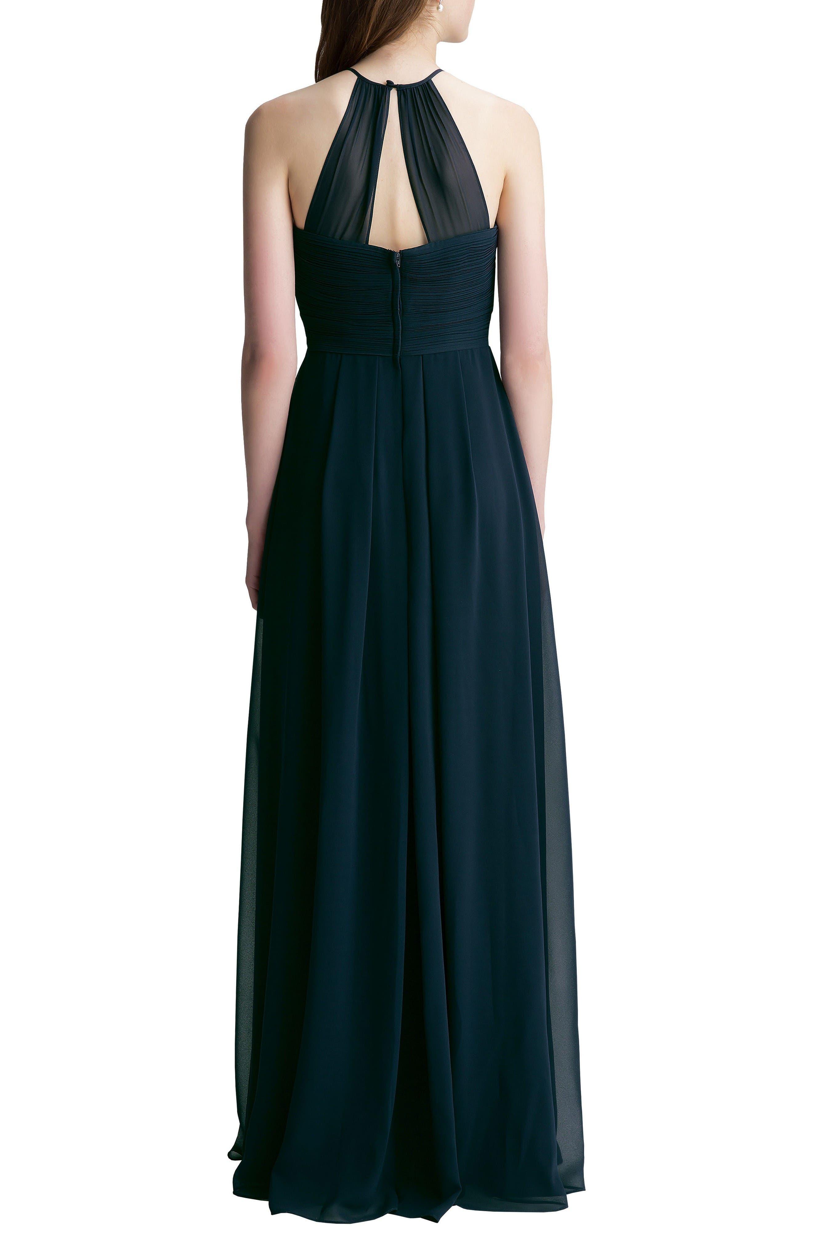 Alternate Image 2  - #Levkoff Halter Chiffon A-Line Gown