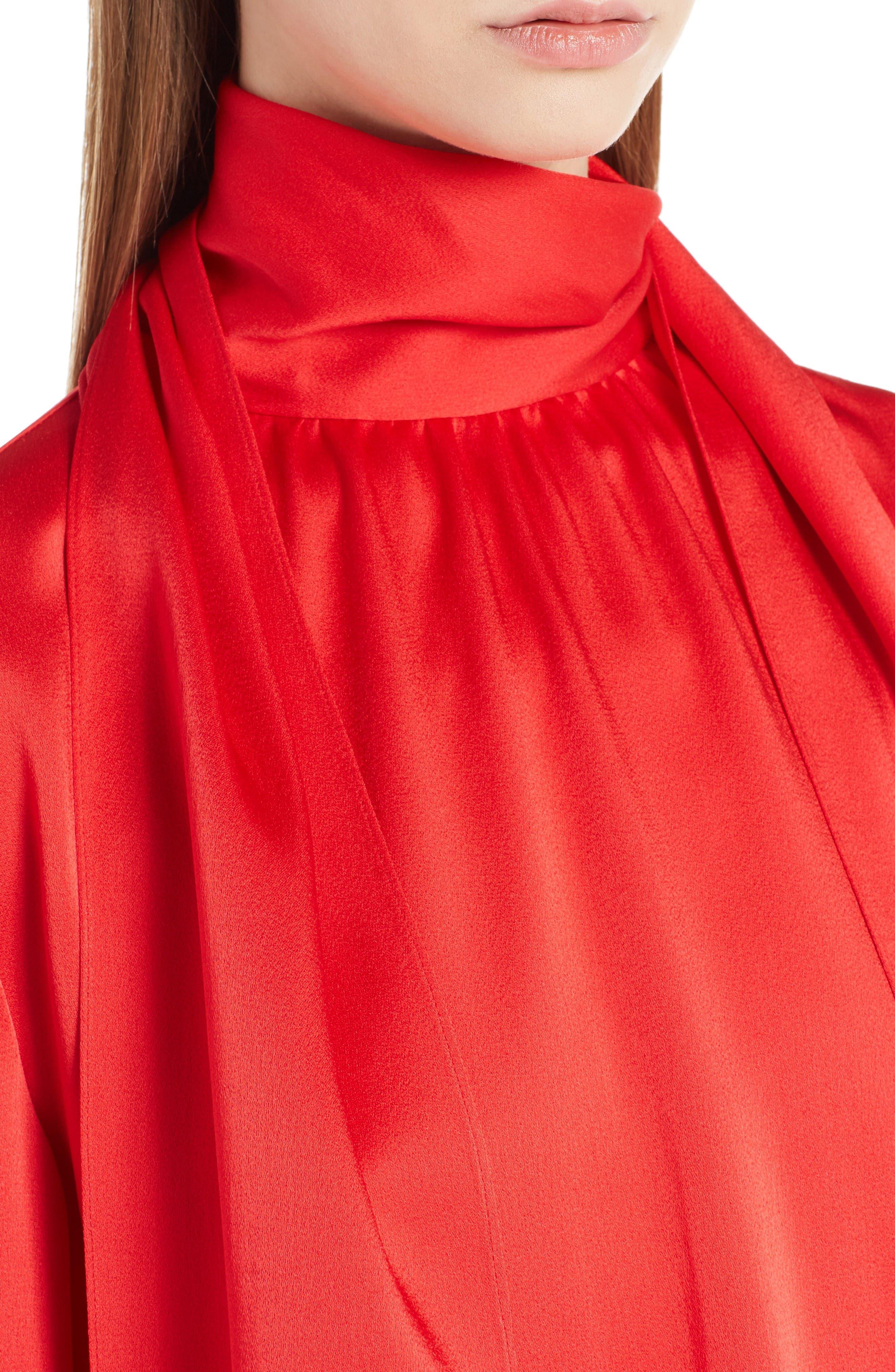 Bell Sleeve Tie Neck Dress,                             Alternate thumbnail 5, color,                             Poppy