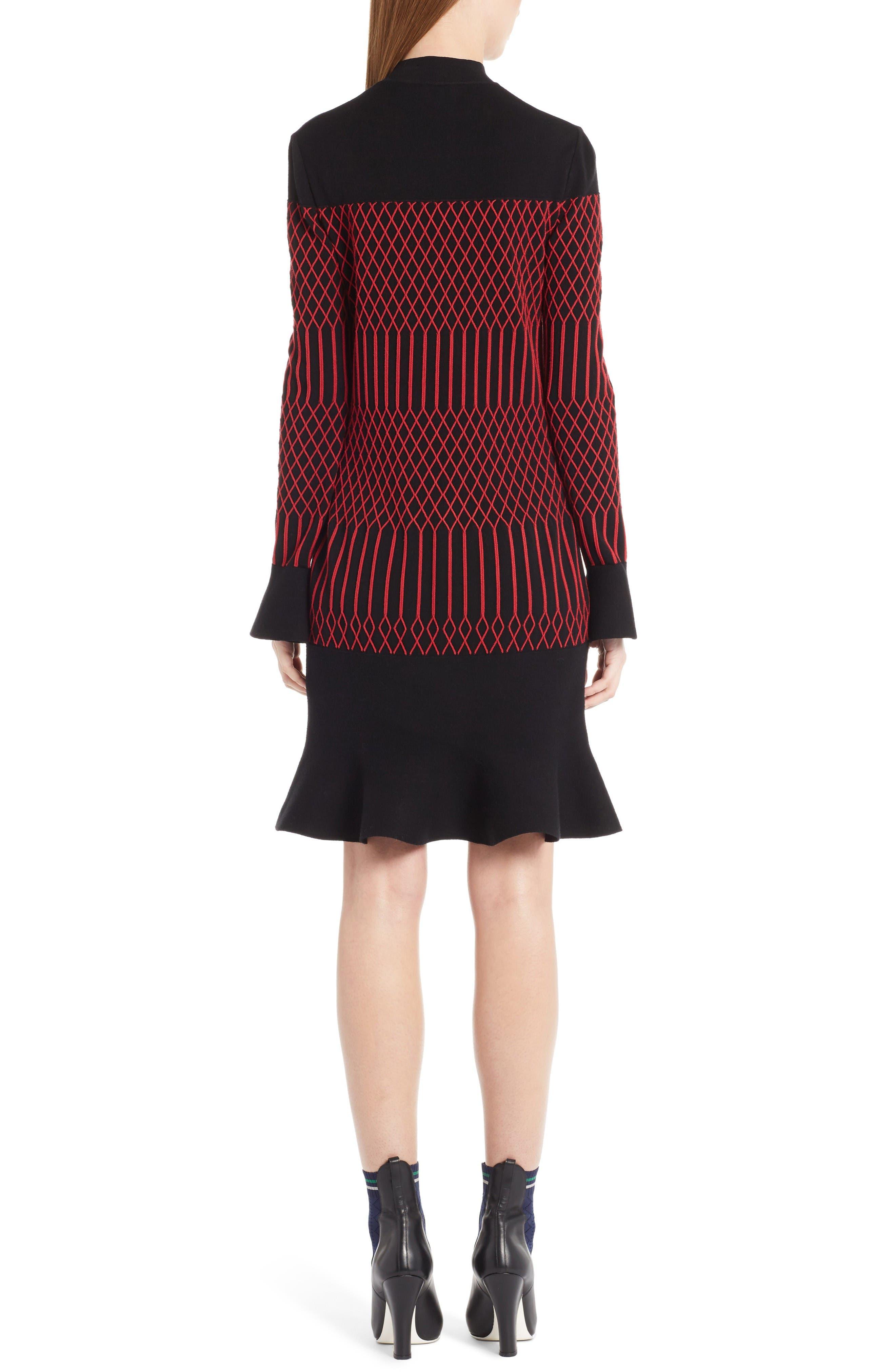 Lozenge Knit Flutter Hem Dress,                             Alternate thumbnail 2, color,                             Black/ Poppy
