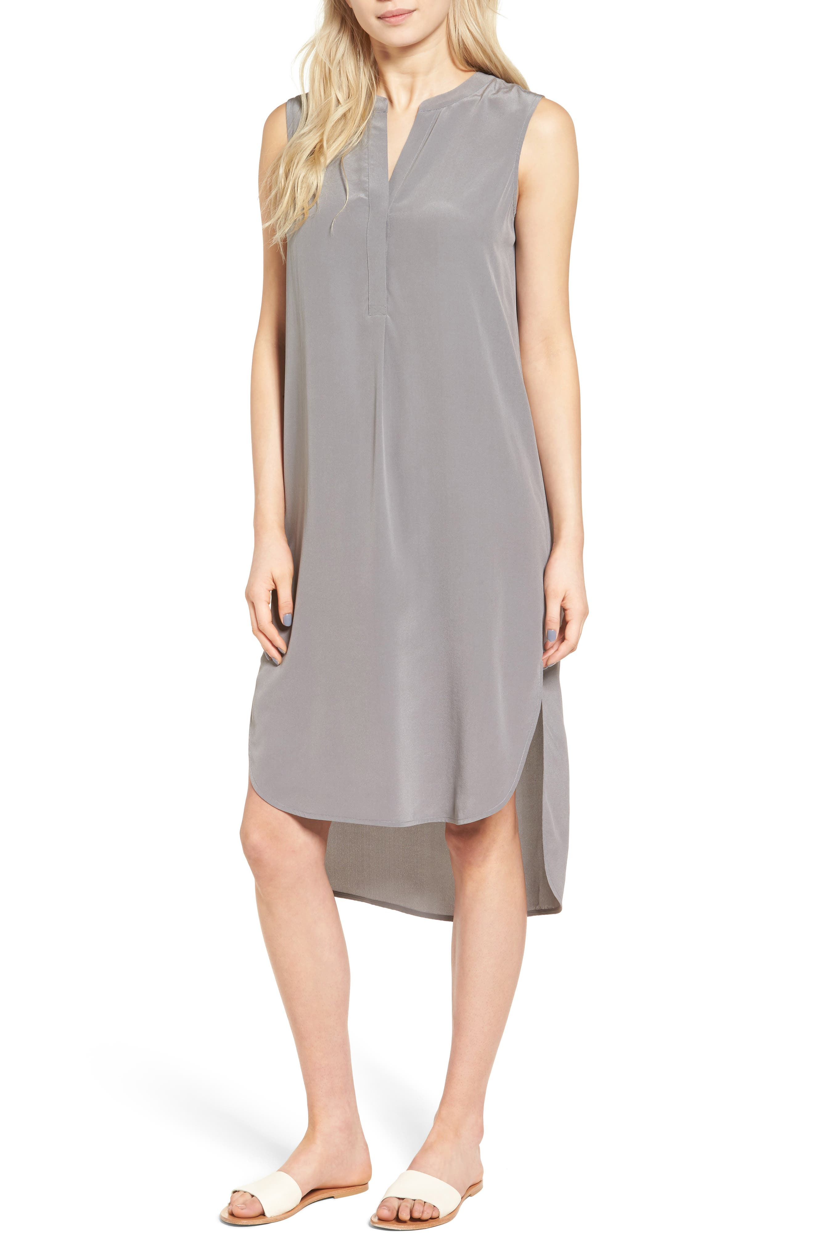 Britt Silk Shift Dress,                         Main,                         color, Silver Ash