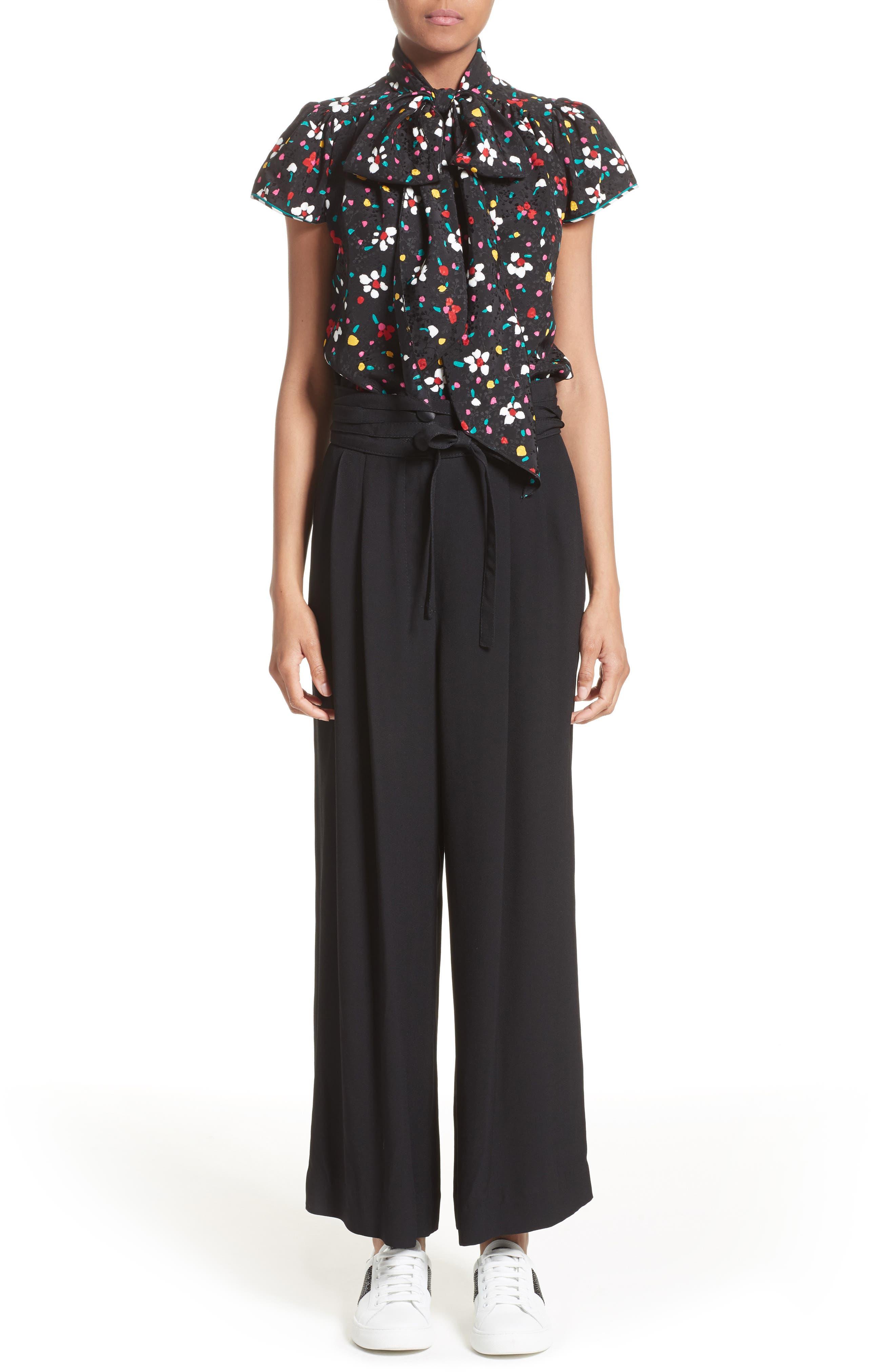 Floral Silk Jacquard Blouse,                             Alternate thumbnail 7, color,                             Black Multi