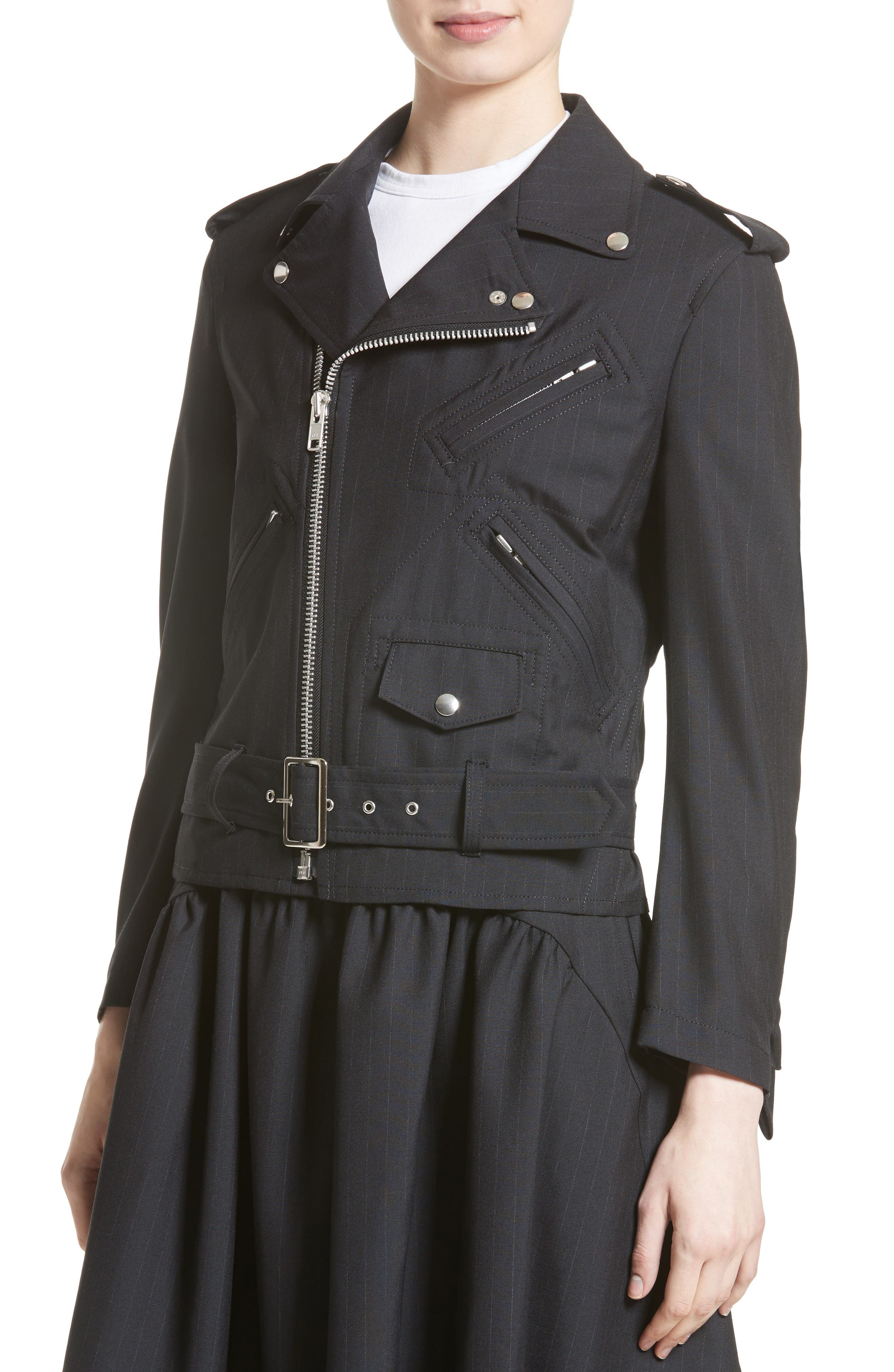 Alternate Image 6  - Comme des Garçons Pinstripe Tropical Wool Moto Jacket