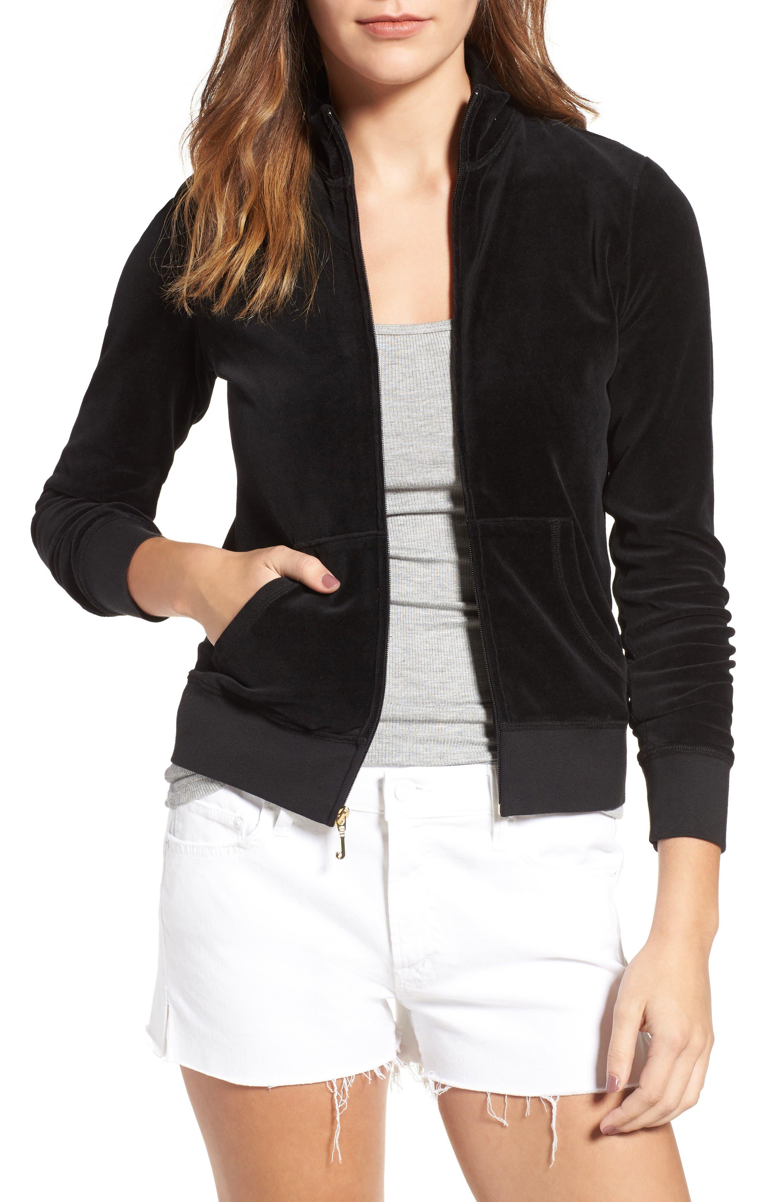Fairfax Velour Track Jacket,                         Main,                         color, Pitch Black