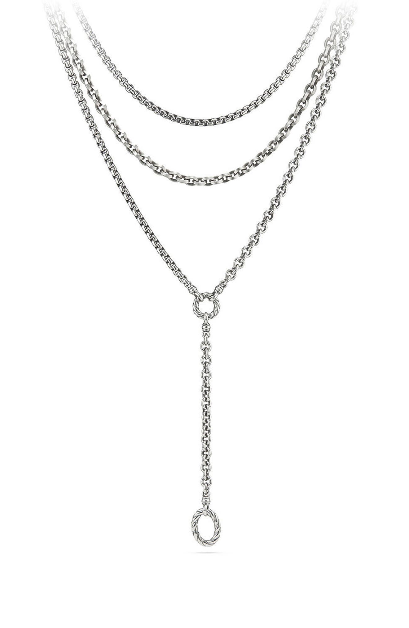 Mixed Chain Y-Necklace,                         Main,                         color, Silver