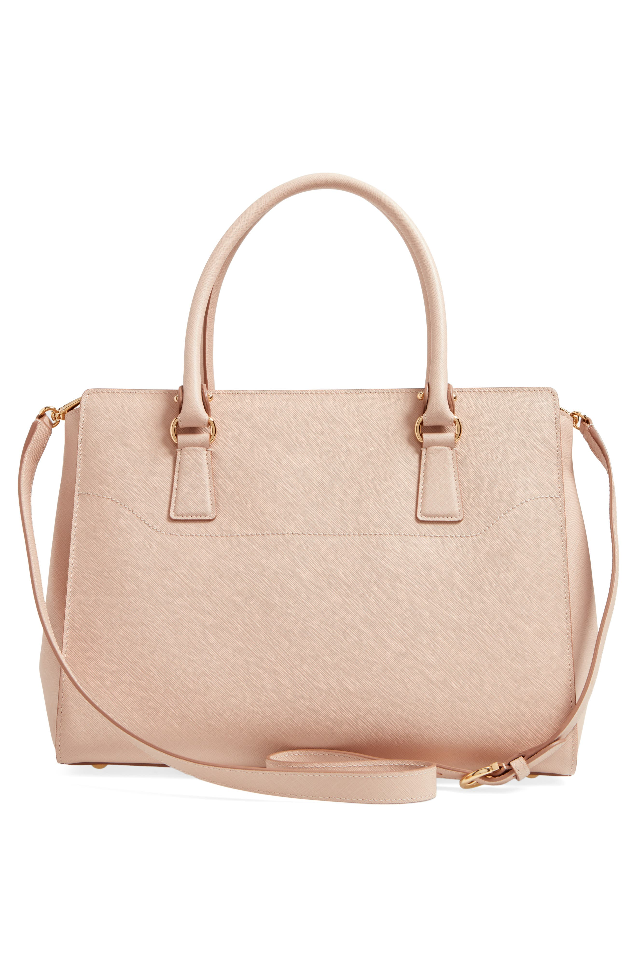 Saffiano Leather Tote,                             Alternate thumbnail 3, color,                             New Bisque Macaron