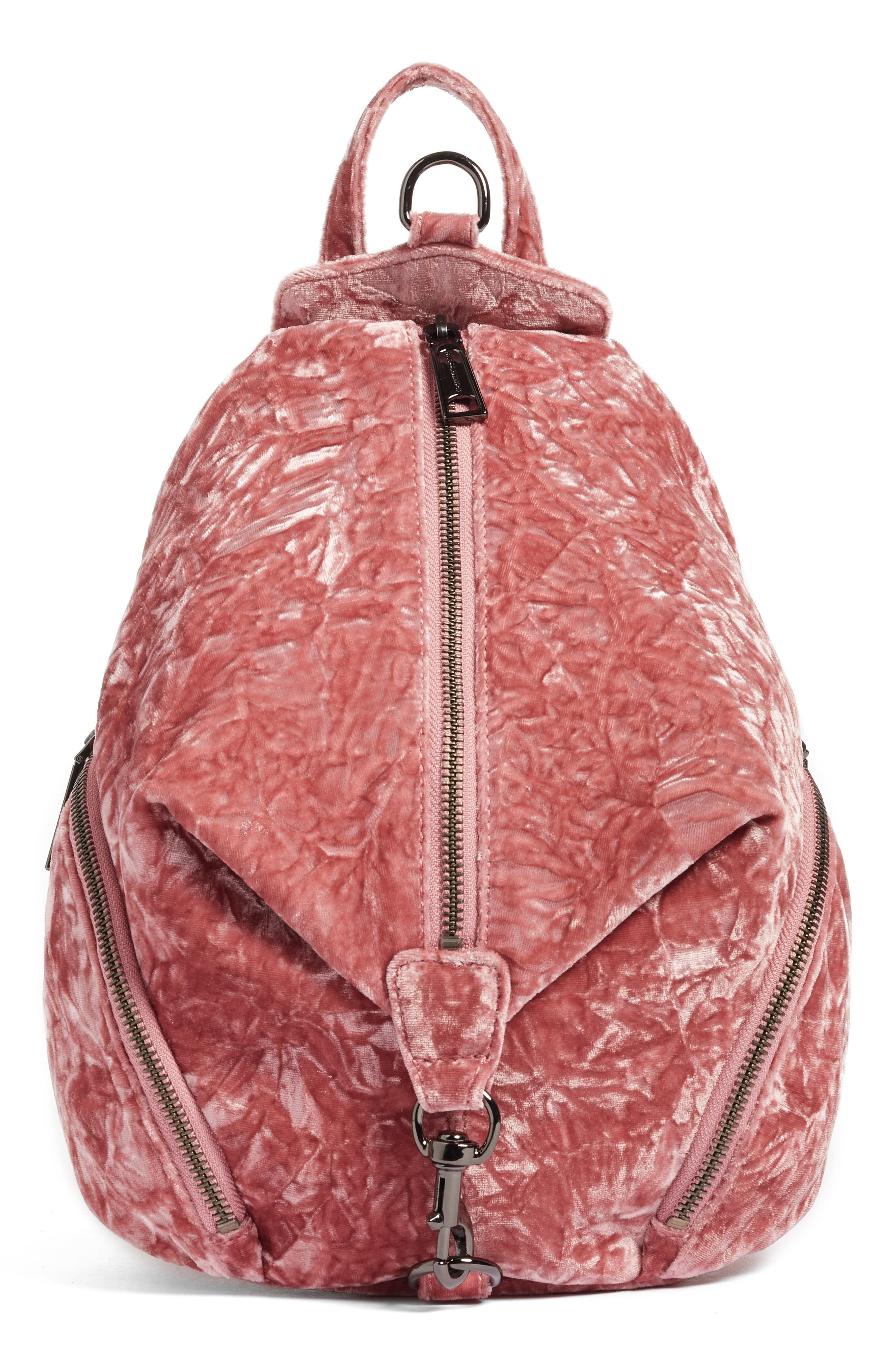 Medium Julian Velvet Backpack,                         Main,                         color, Pink Velvet/ Gunmetal Hardware