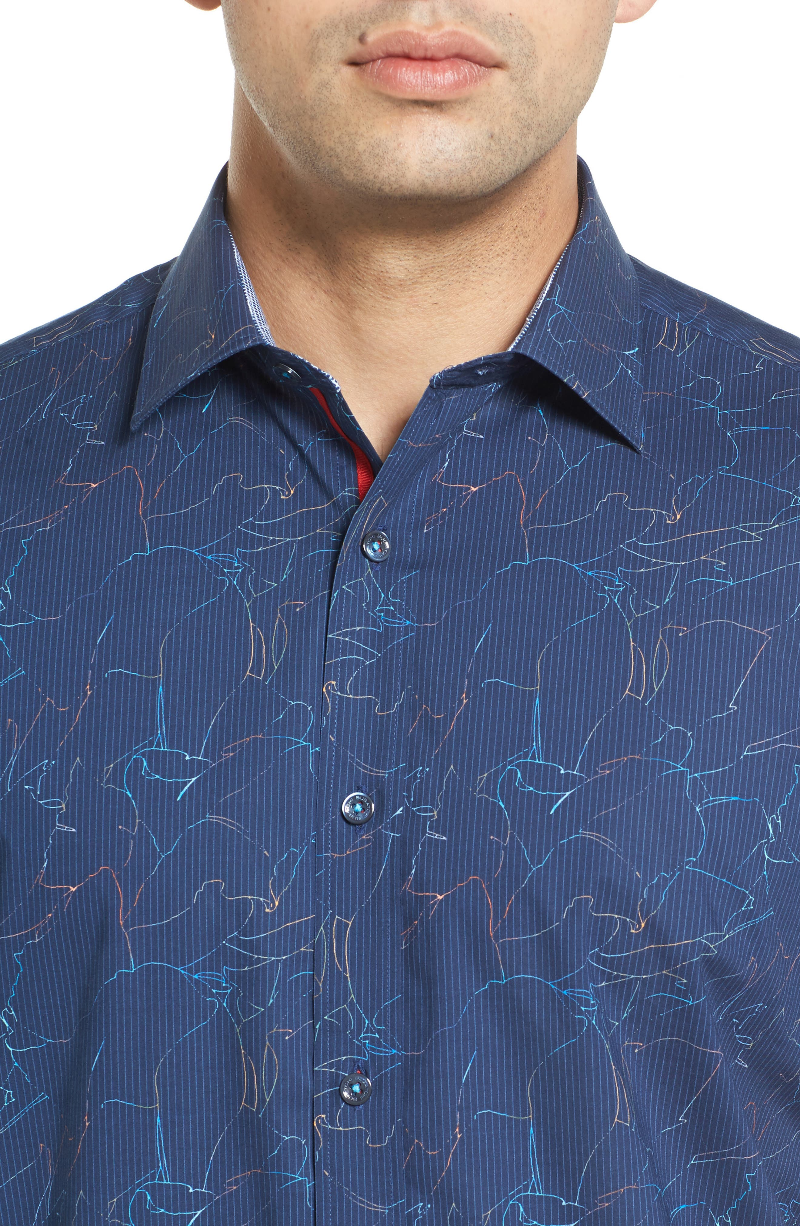 Classic Fit Crackle Stripe Sport Shirt,                             Alternate thumbnail 4, color,                             Midnight