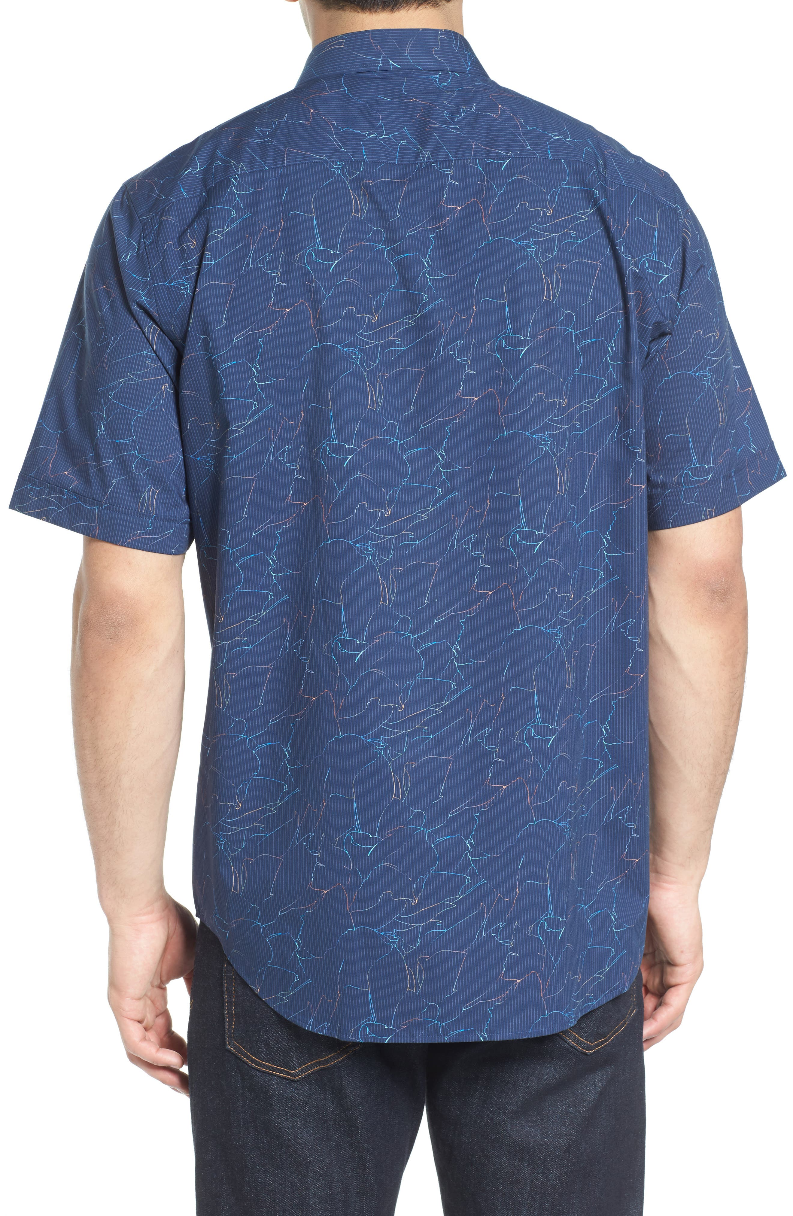 Classic Fit Crackle Stripe Sport Shirt,                             Alternate thumbnail 2, color,                             Midnight