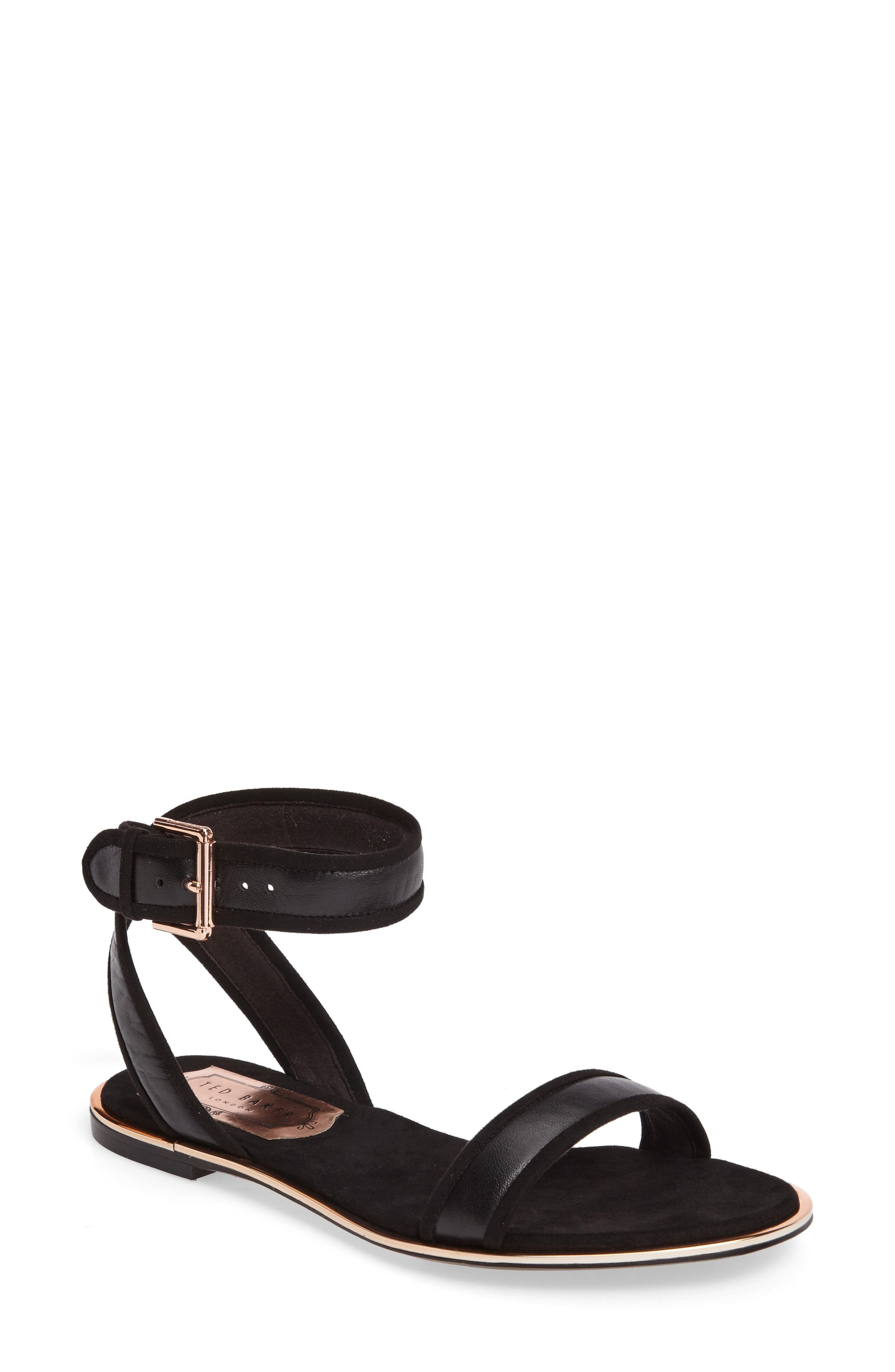 Ted Baker Alella Ankle Strap Sandal,                             Main thumbnail 1, color,                             Black Leather