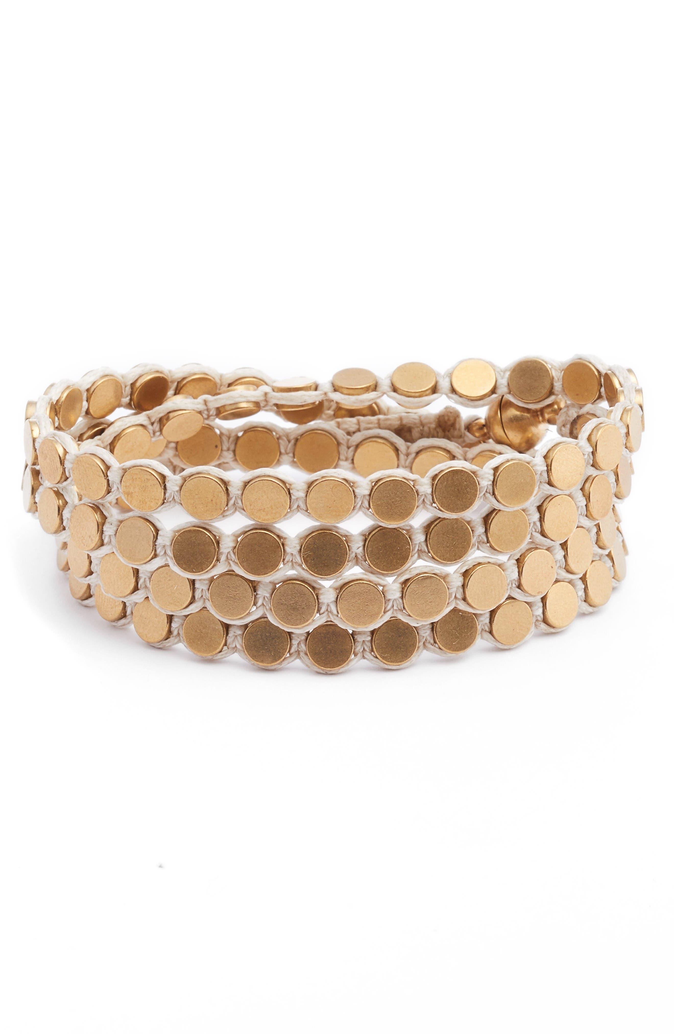 Wrap Disk Bracelet,                         Main,                         color, White/ Gold