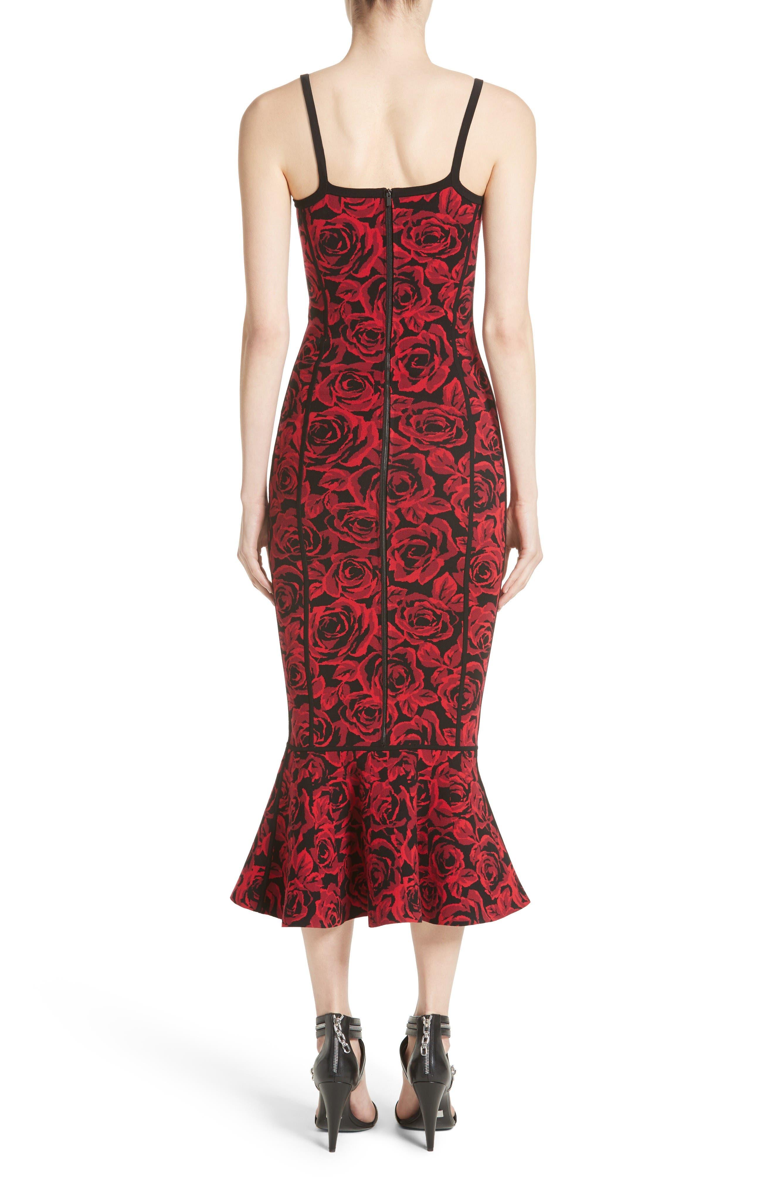 Stretch Rose Jacquard Tank Dress,                             Alternate thumbnail 2, color,                             Crimson/ Black