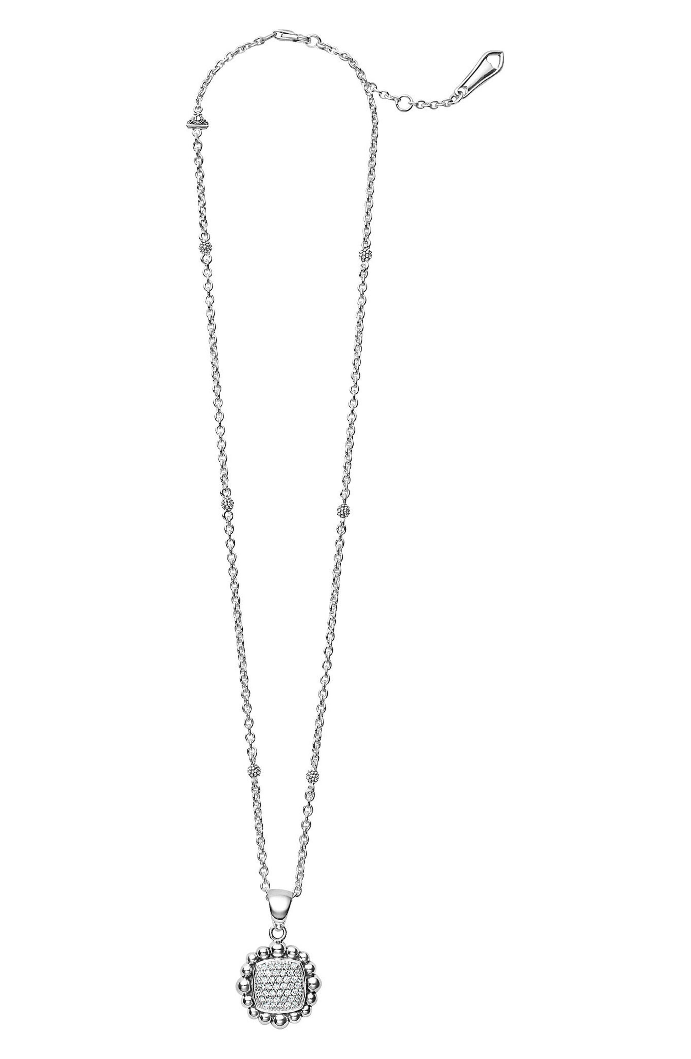 Caviar Spark Square Diamond Pendant Necklace,                         Main,                         color, Silver