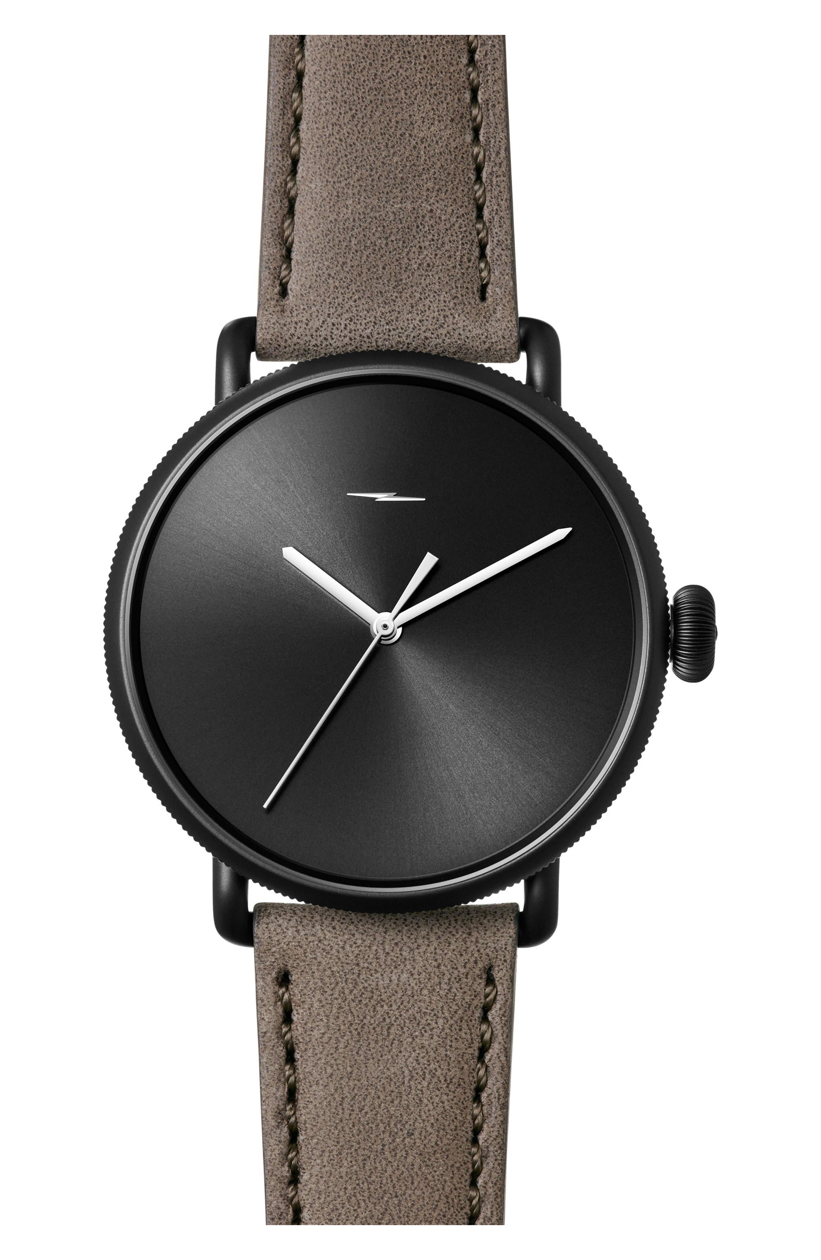 Bolt Leather Strap Watch, 42mm,                             Main thumbnail 1, color,                             Gray/ Black Sunray/ Black