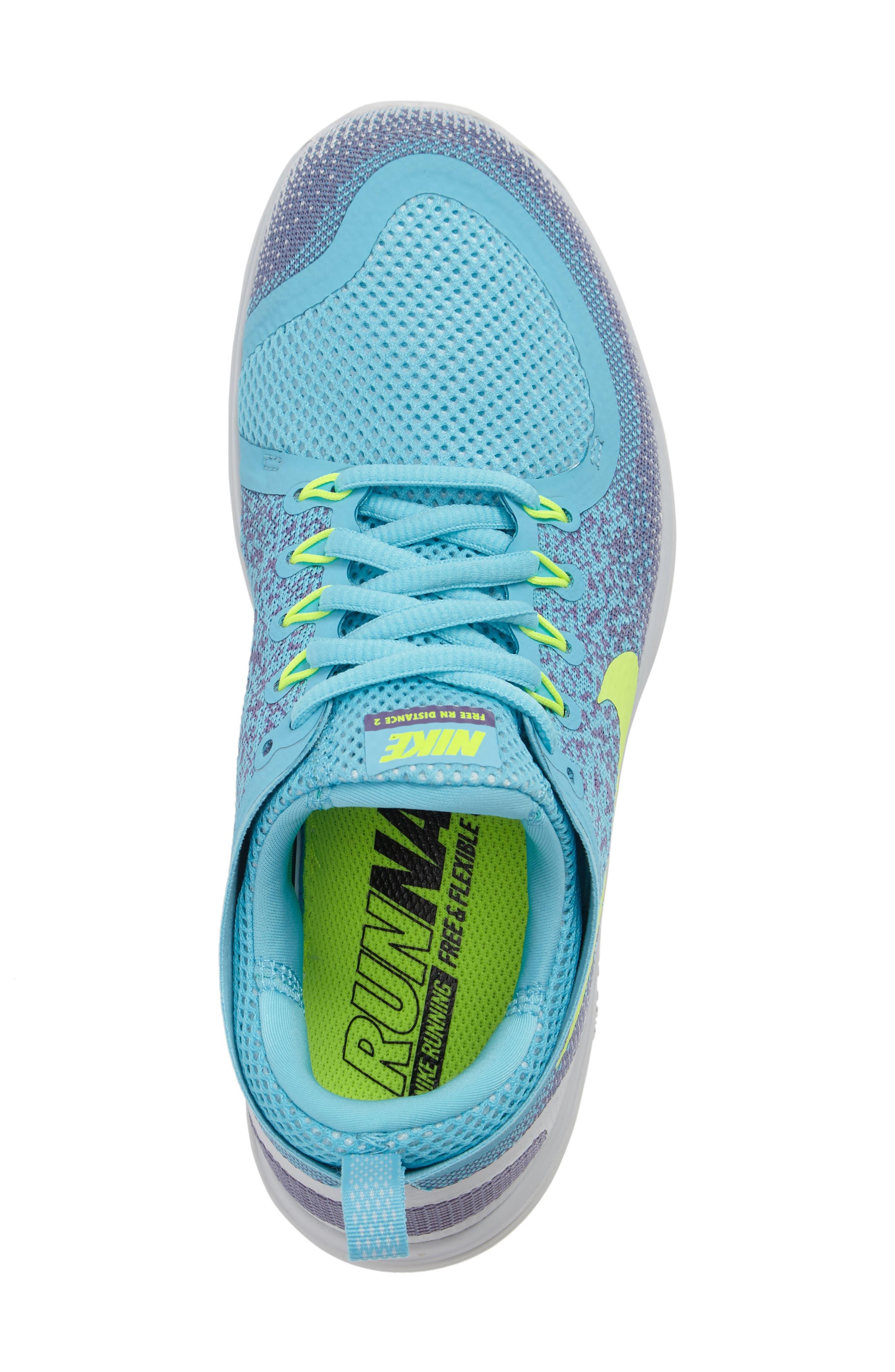 Free Run Distance 2 Running Shoe,                             Alternate thumbnail 5, color,                             Polarized Blue/ Volt/ Purple