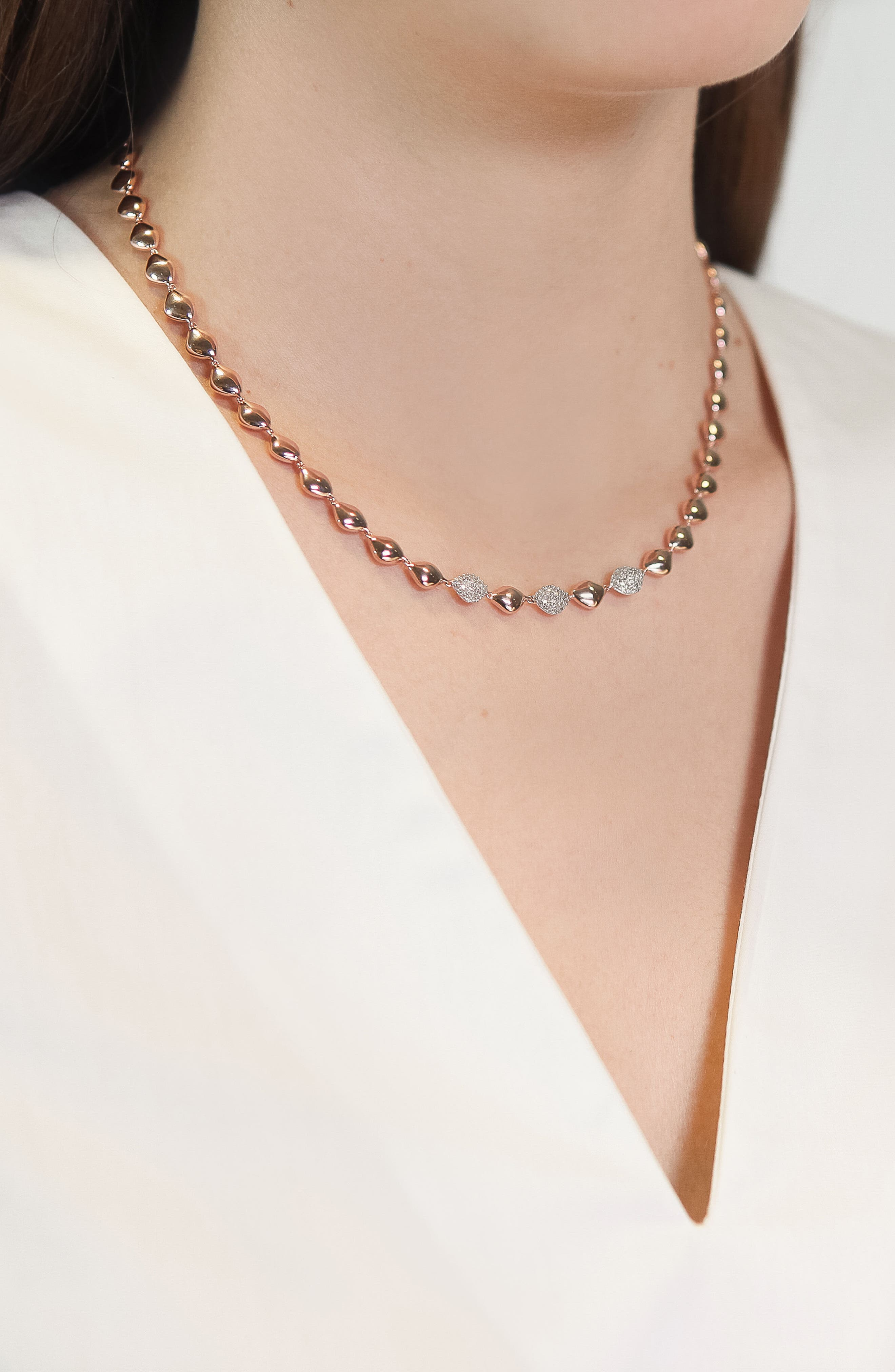 Nura Diamond Collar Necklace,                             Alternate thumbnail 2, color,                             Rose Gold/ Diamond