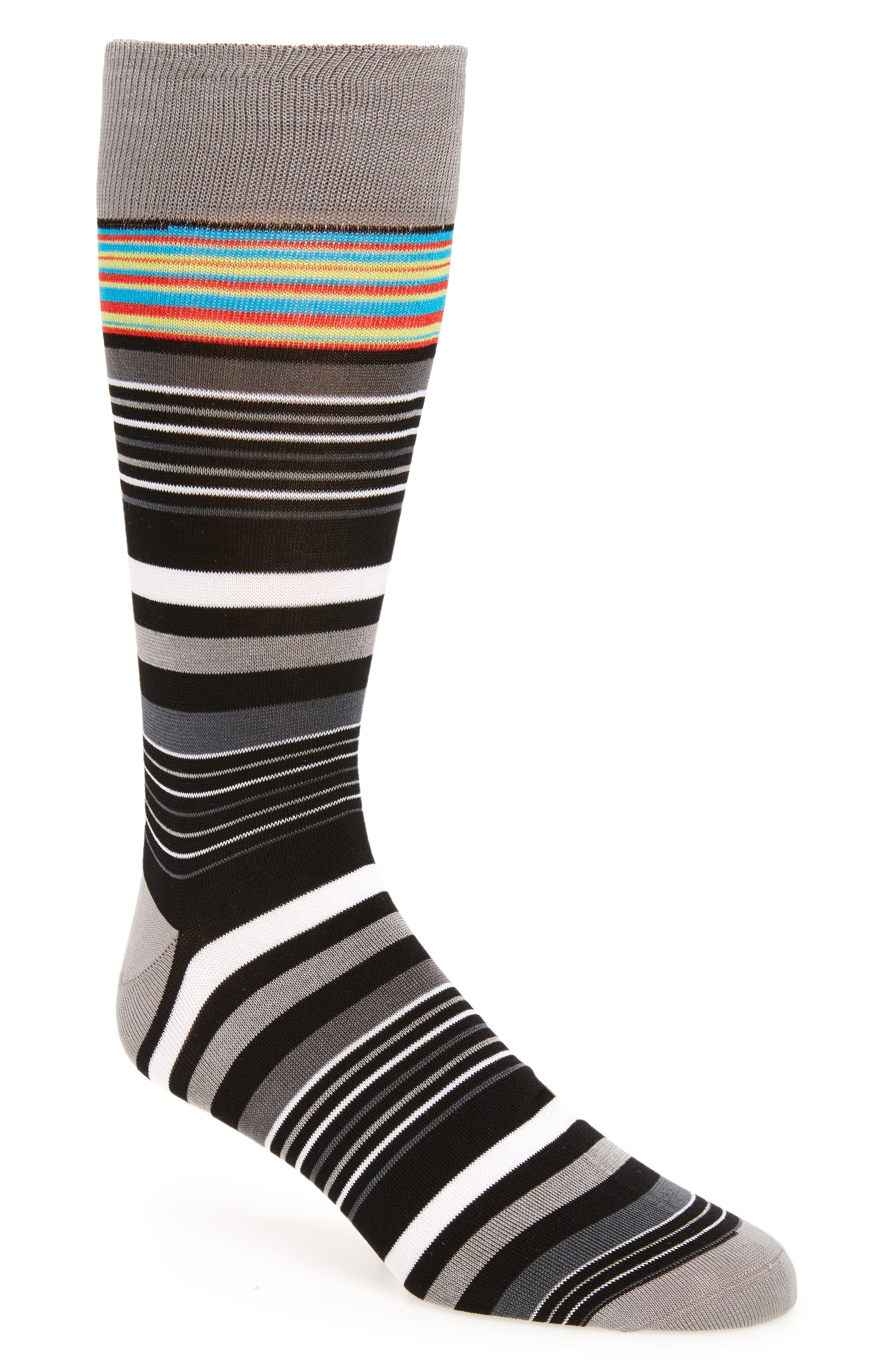 Alternate Image 1 Selected - Bugatchi Stripe Crew Socks