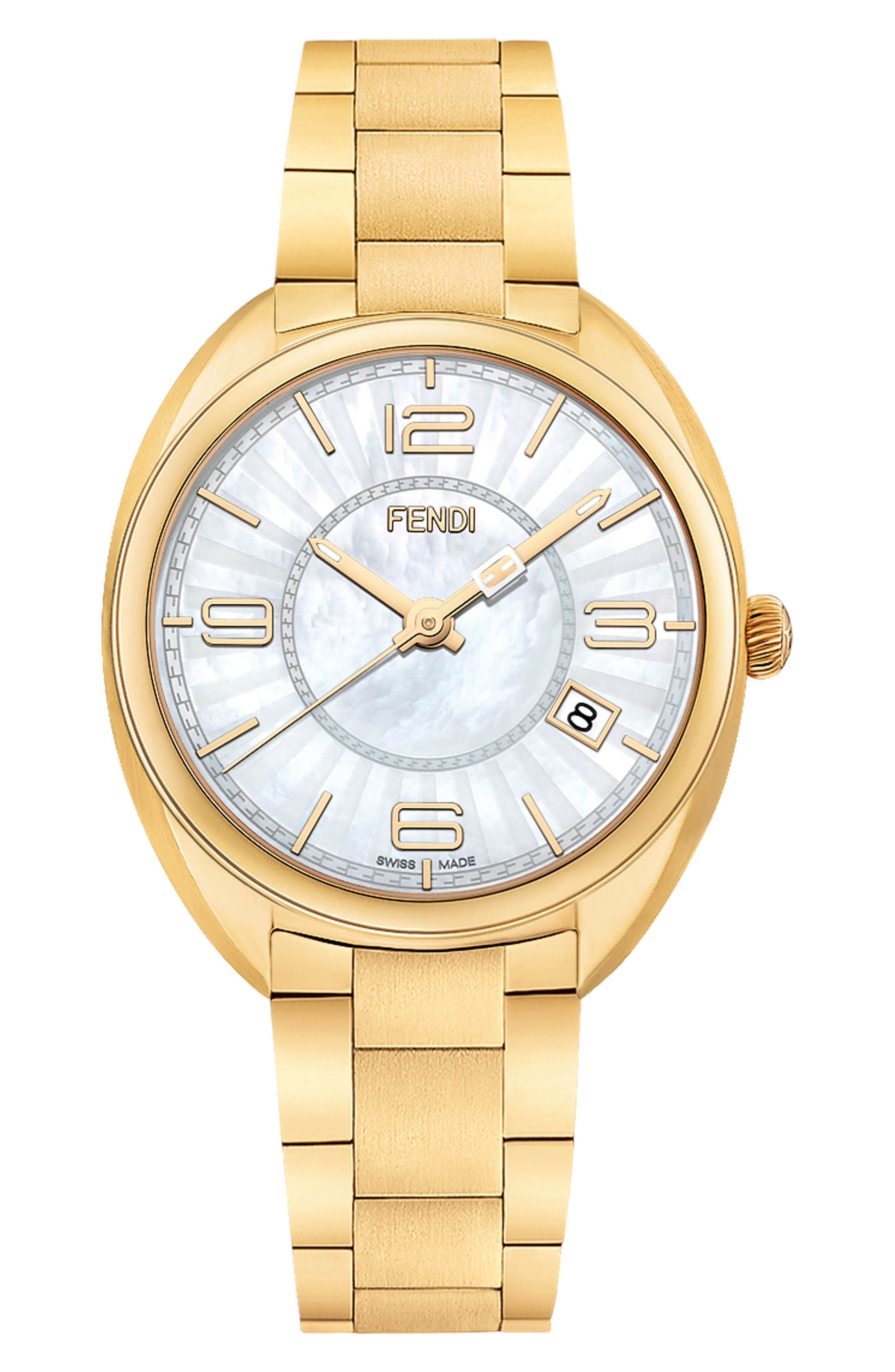 Alternate Image 1 Selected - Fendi Momento Mother of Pearl Bracelet Watch, 34mm
