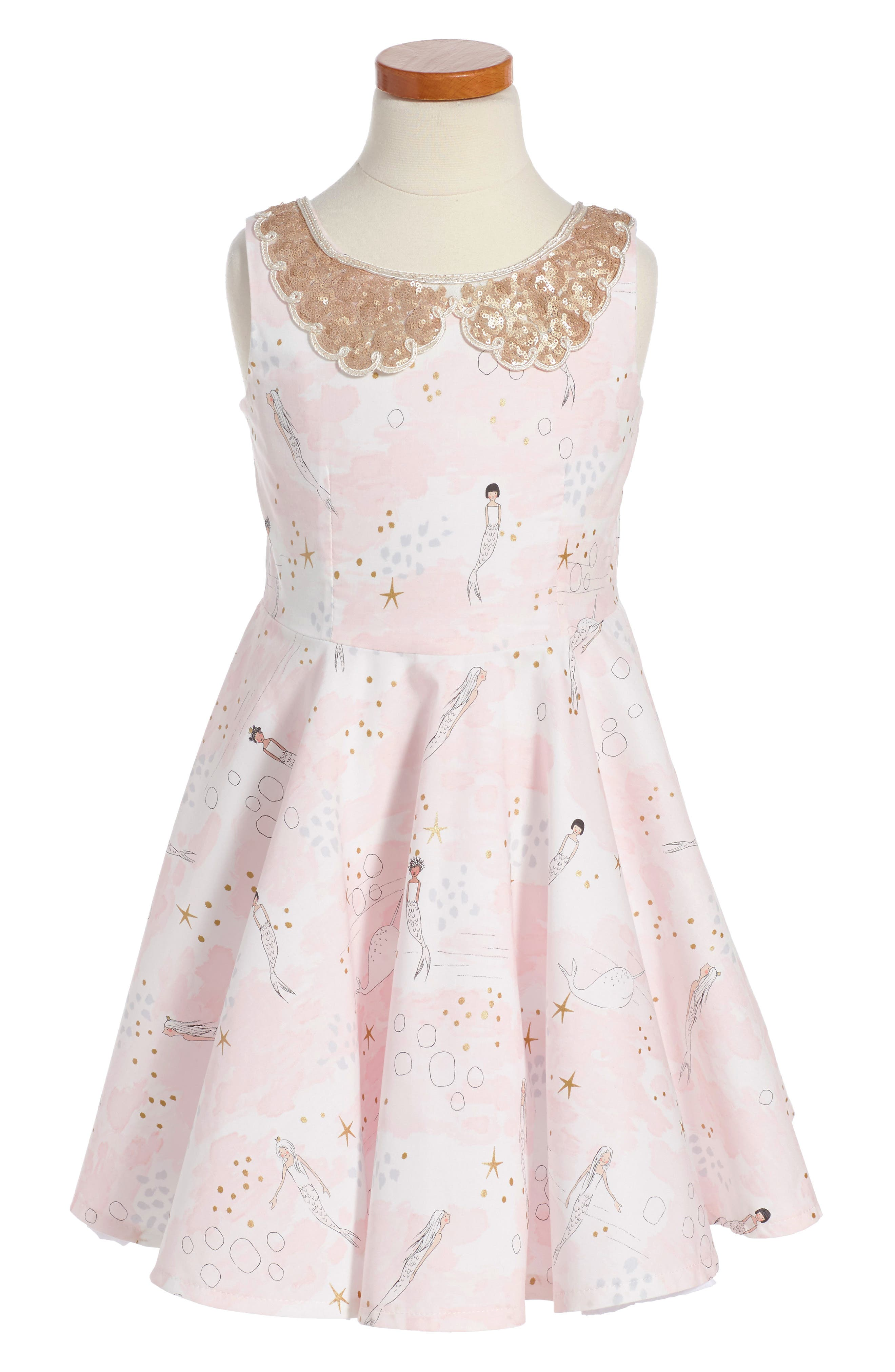 The Little Mermaid Dress,                             Main thumbnail 1, color,                             Pink/Gold