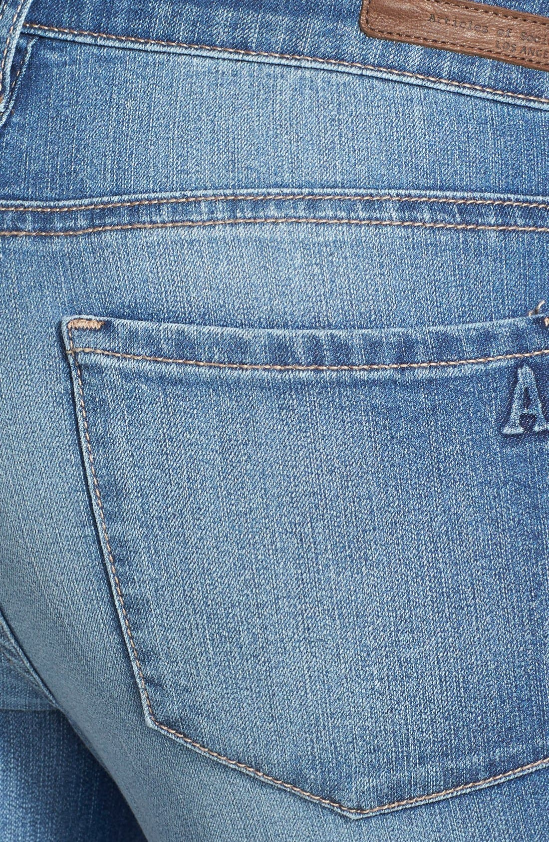 Alternate Image 3  - Articles of Society Destroyed Skinny Jeans (Medium)