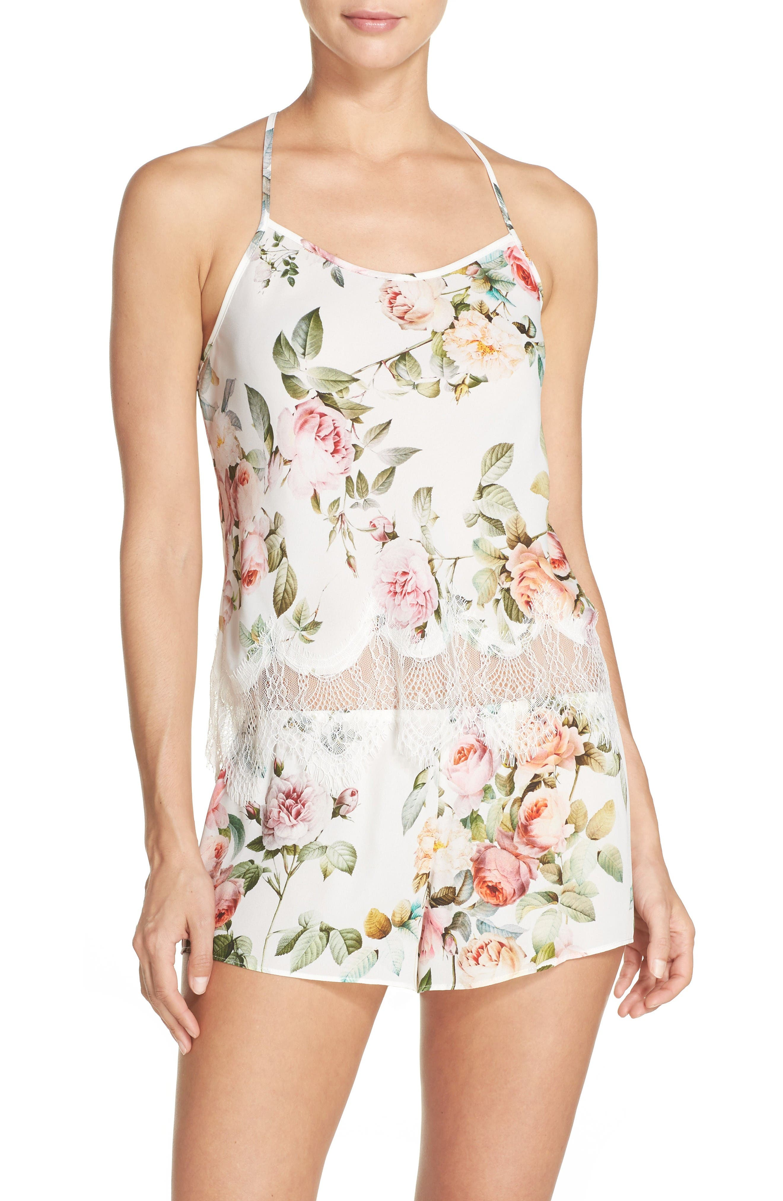 Abigal Short Pajamas,                         Main,                         color, Ivory Floral