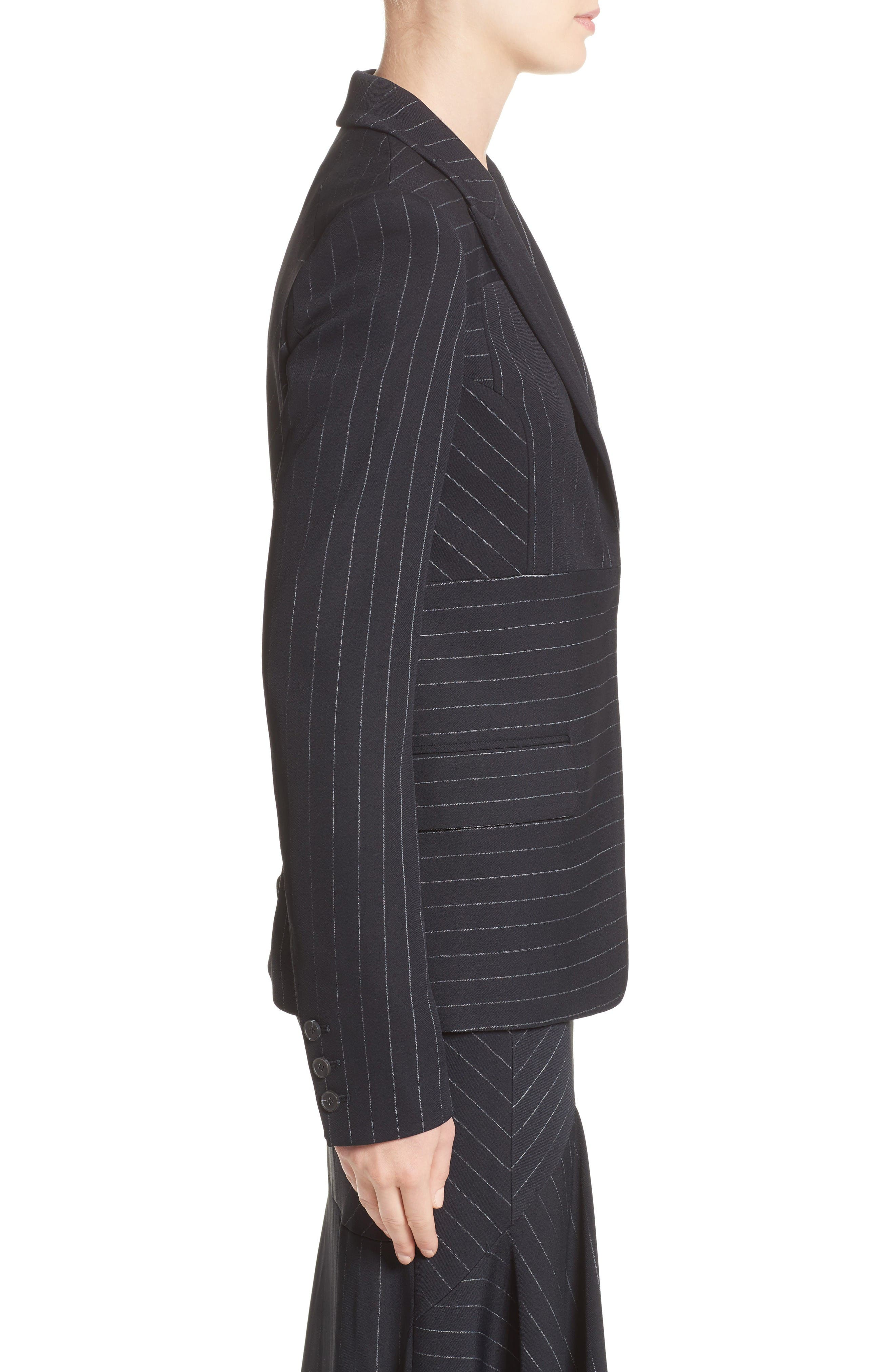 Pinstripe Stretch Jacket,                             Alternate thumbnail 6, color,                             Black/ Chalk