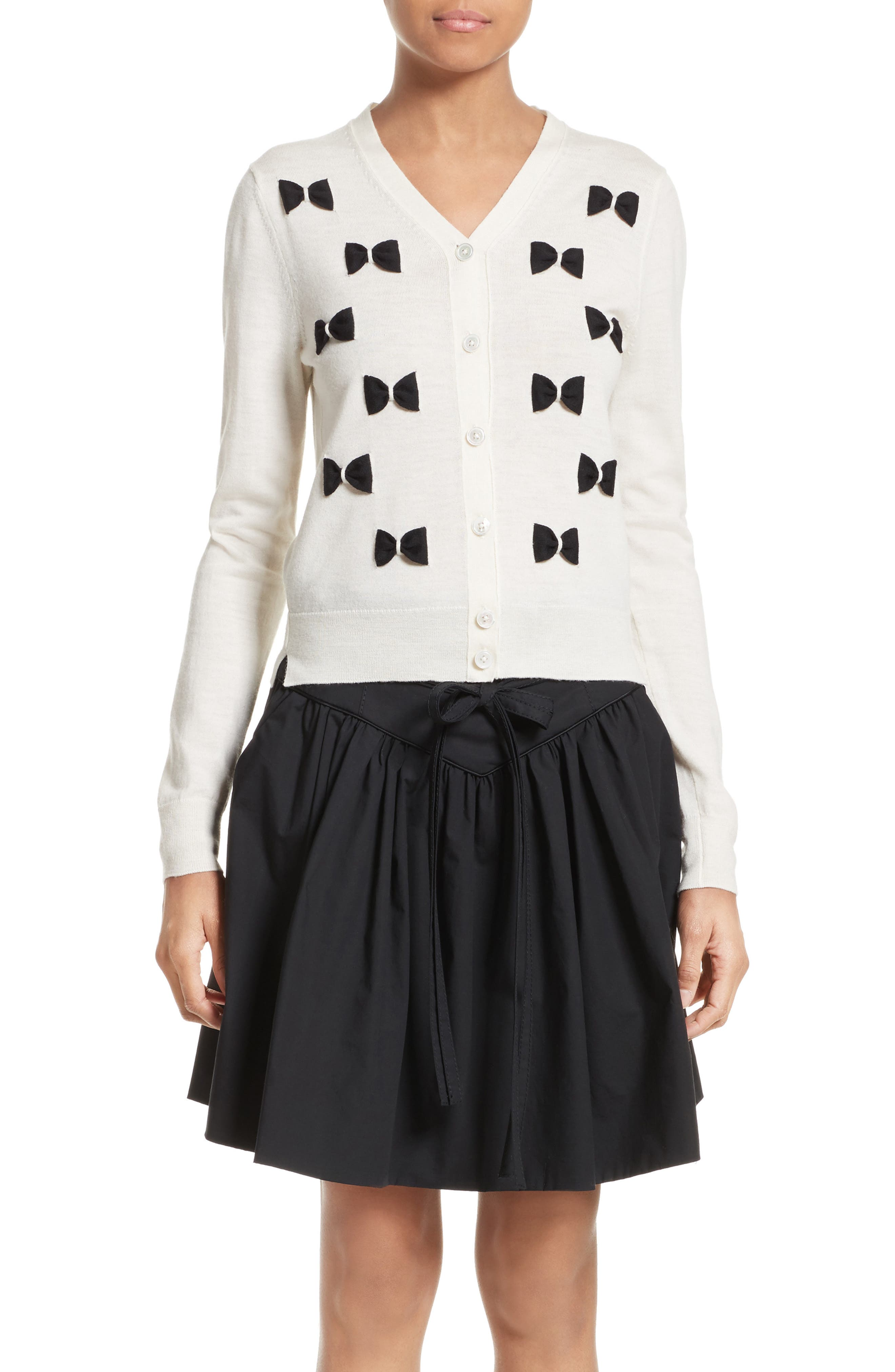 Bow Wool Cardigan,                         Main,                         color, Ivory Multi