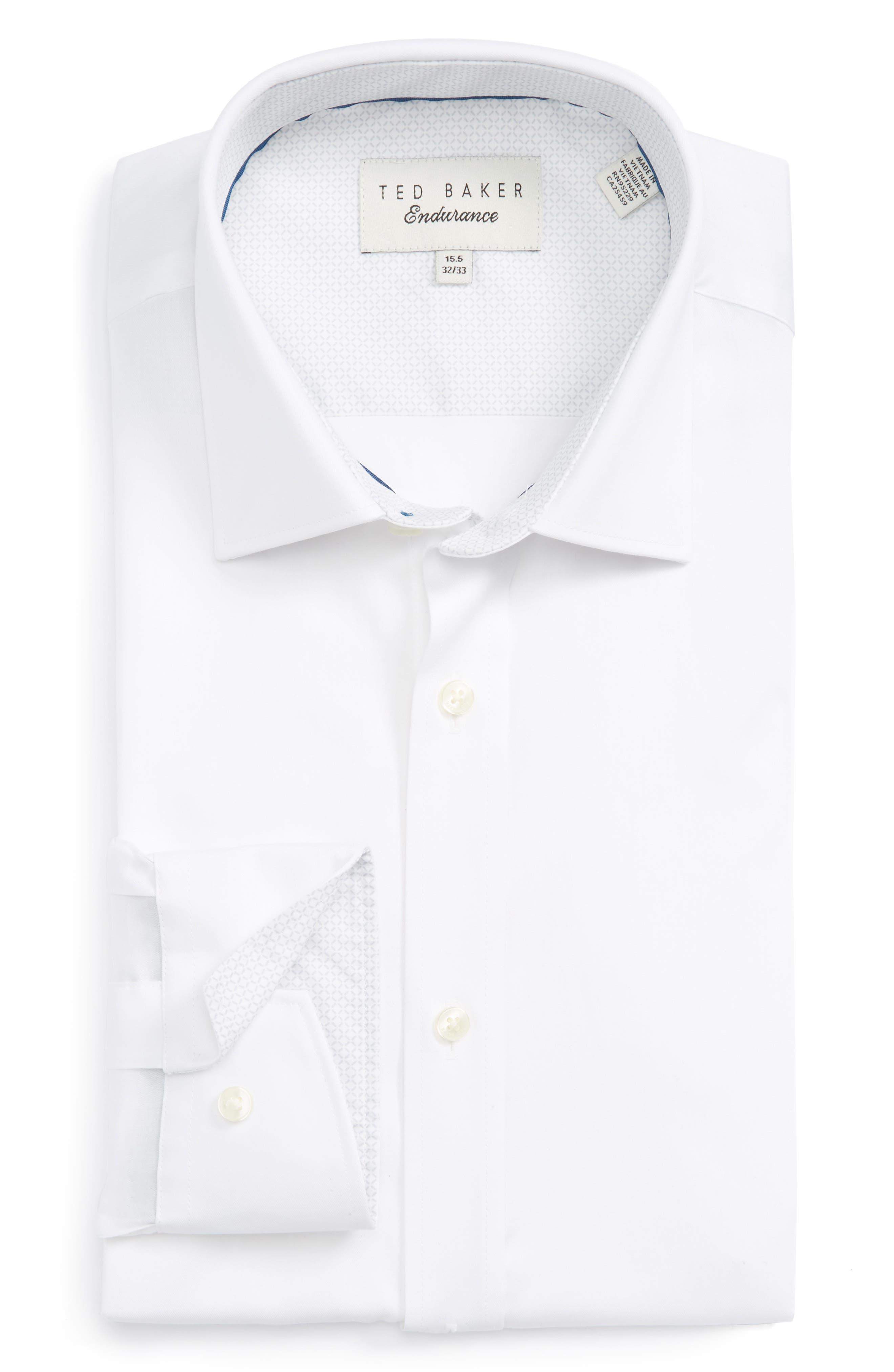 Main Image - Ted Baker London Caramor Trim Fit Solid Dress Shirt