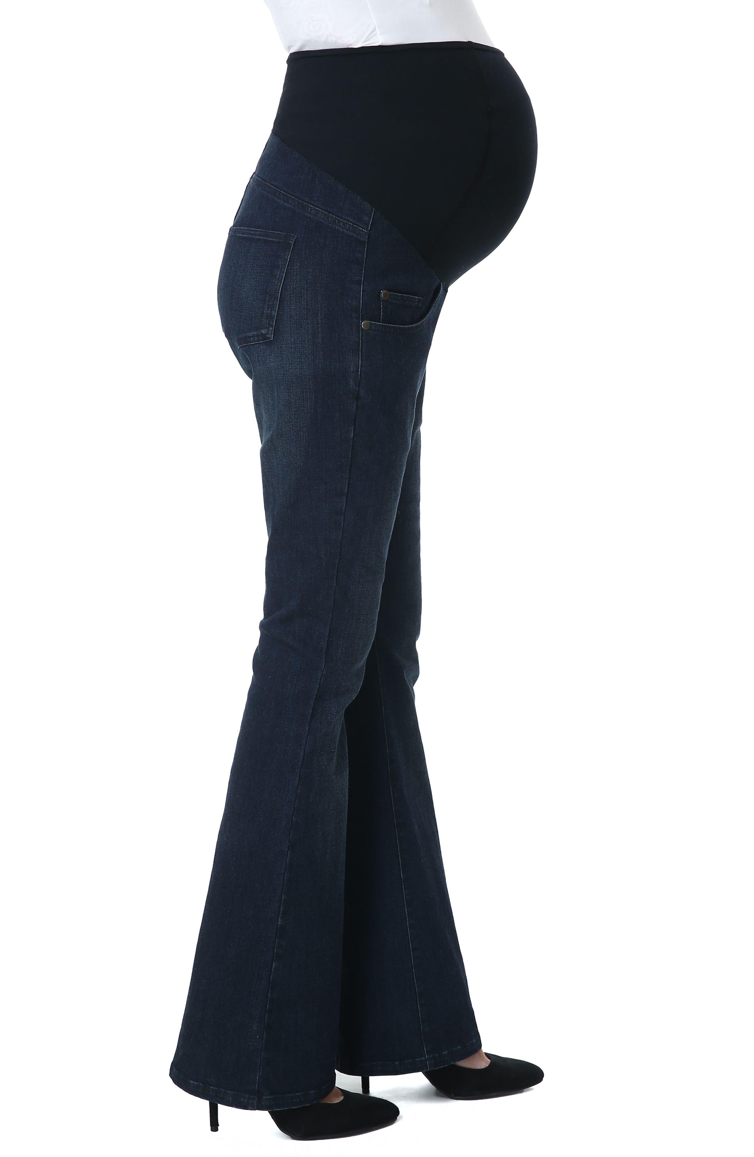 Leni Maternity Bootcut Jeans,                             Alternate thumbnail 3, color,                             Black/ Blue